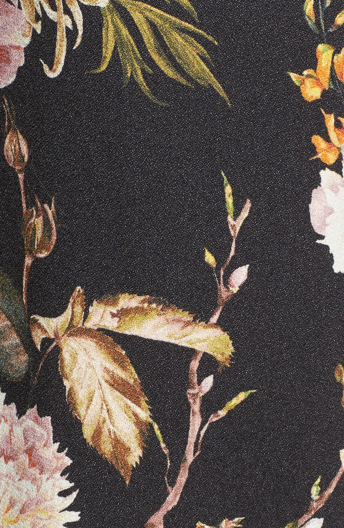 Ray Asymmetrical Midi Dress,                             Alternate thumbnail 6, color,                             Noir Floral