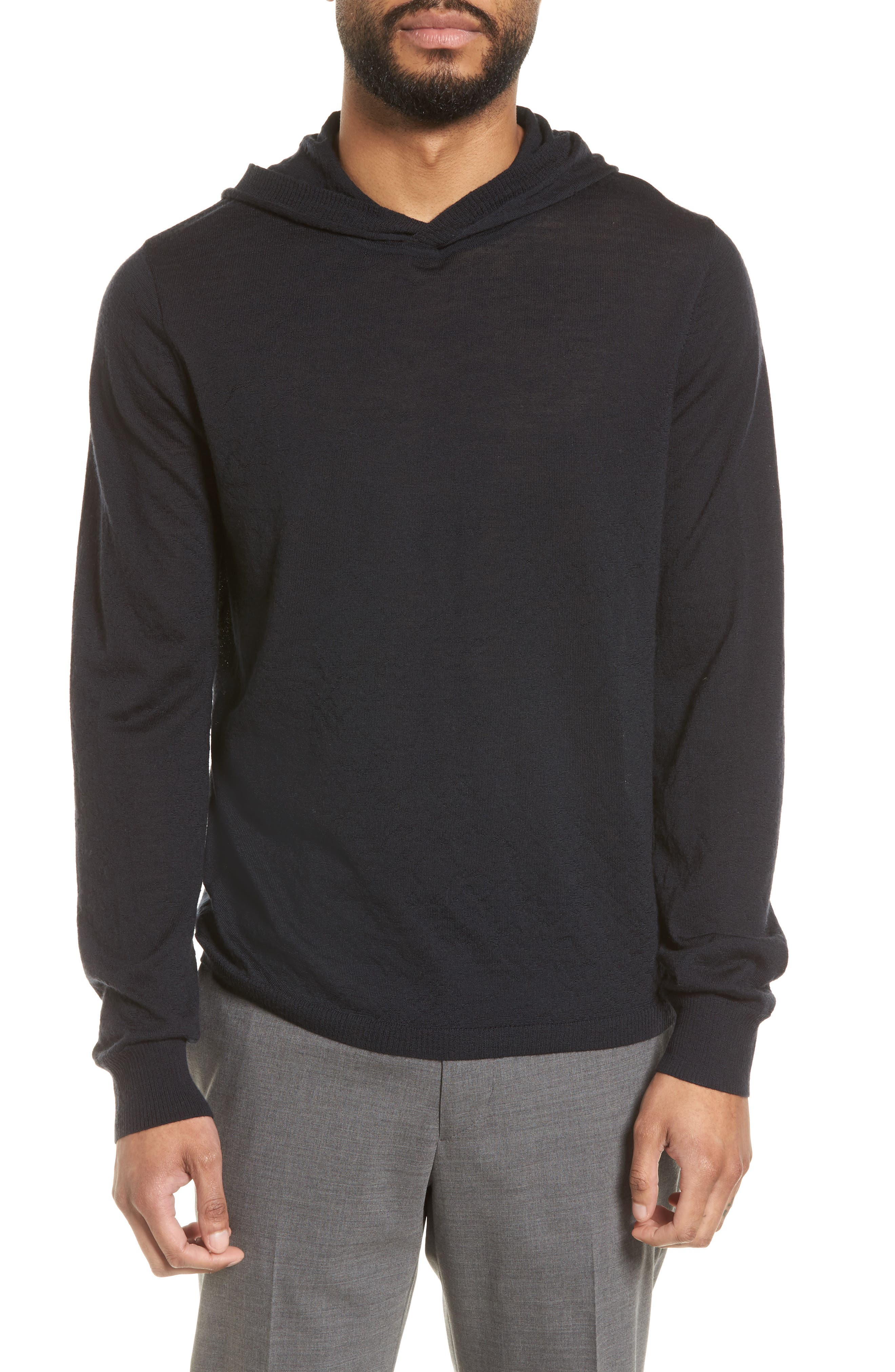 Regular Fit Wool Pullover Hoodie,                         Main,                         color, Black
