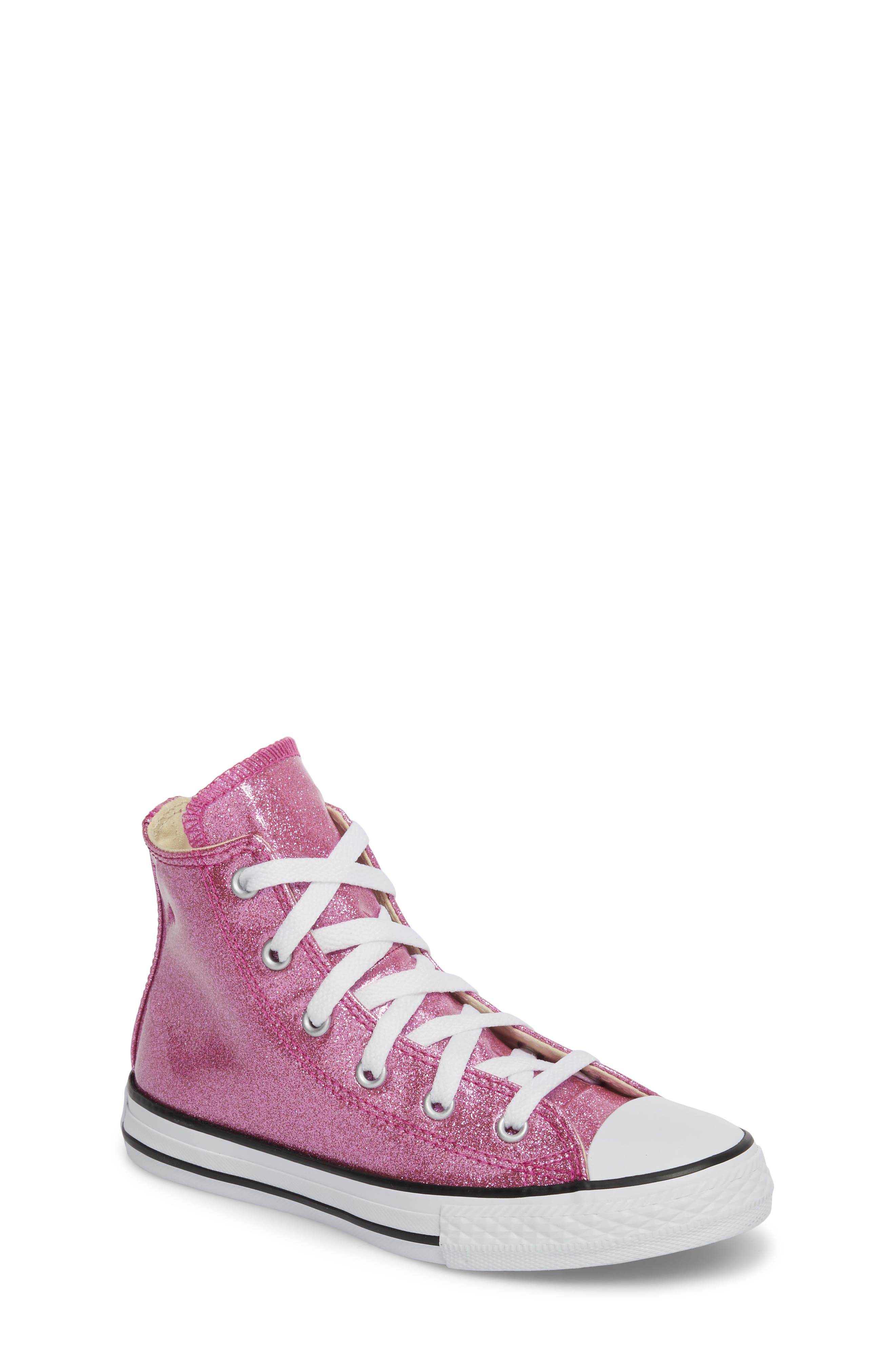 All Star<sup>®</sup> Glitter High Top Sneaker,                         Main,                         color, Bright Violet