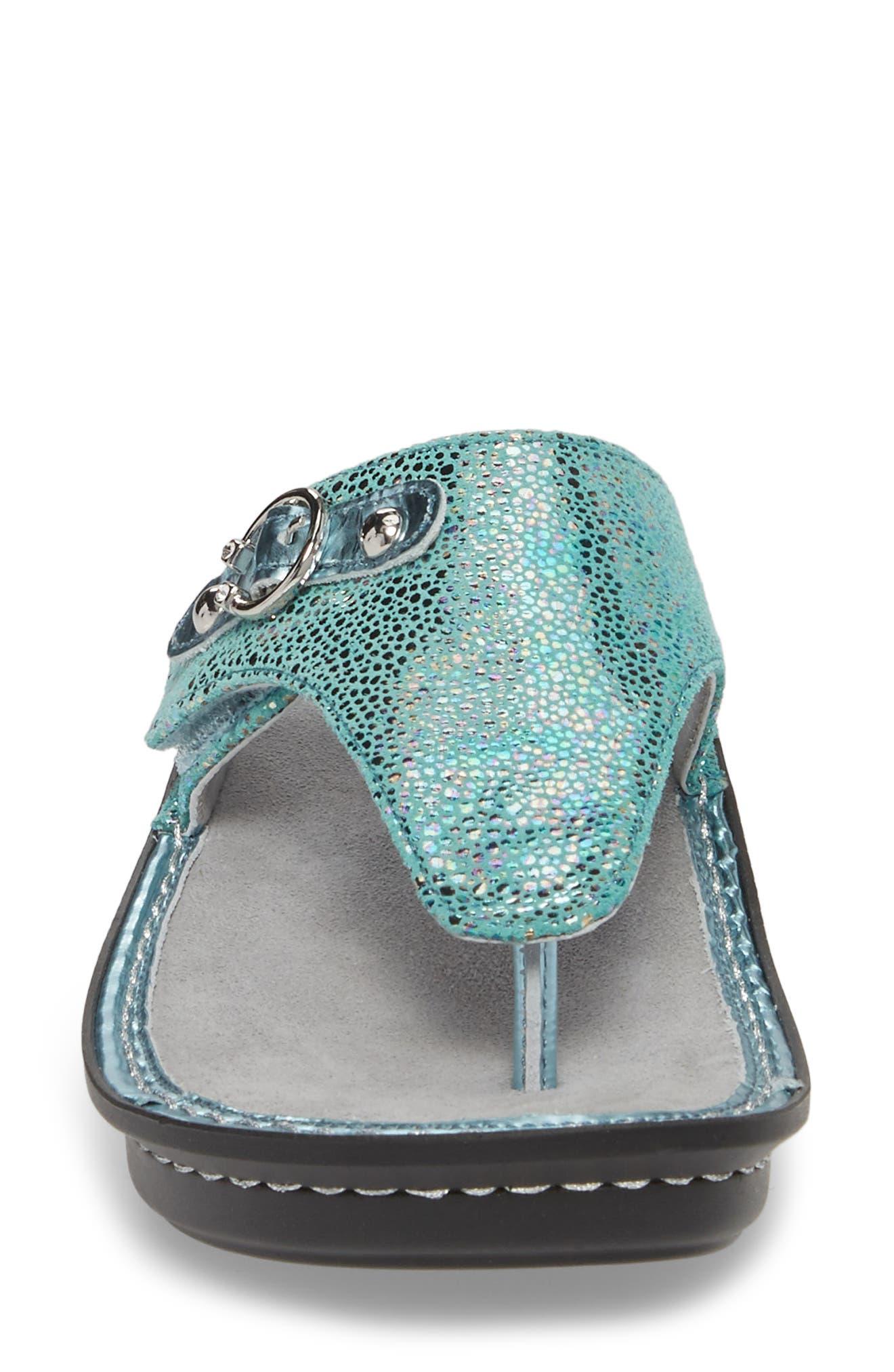 'Vanessa' Thong Sandal,                             Alternate thumbnail 4, color,                             Aqua Love Leather