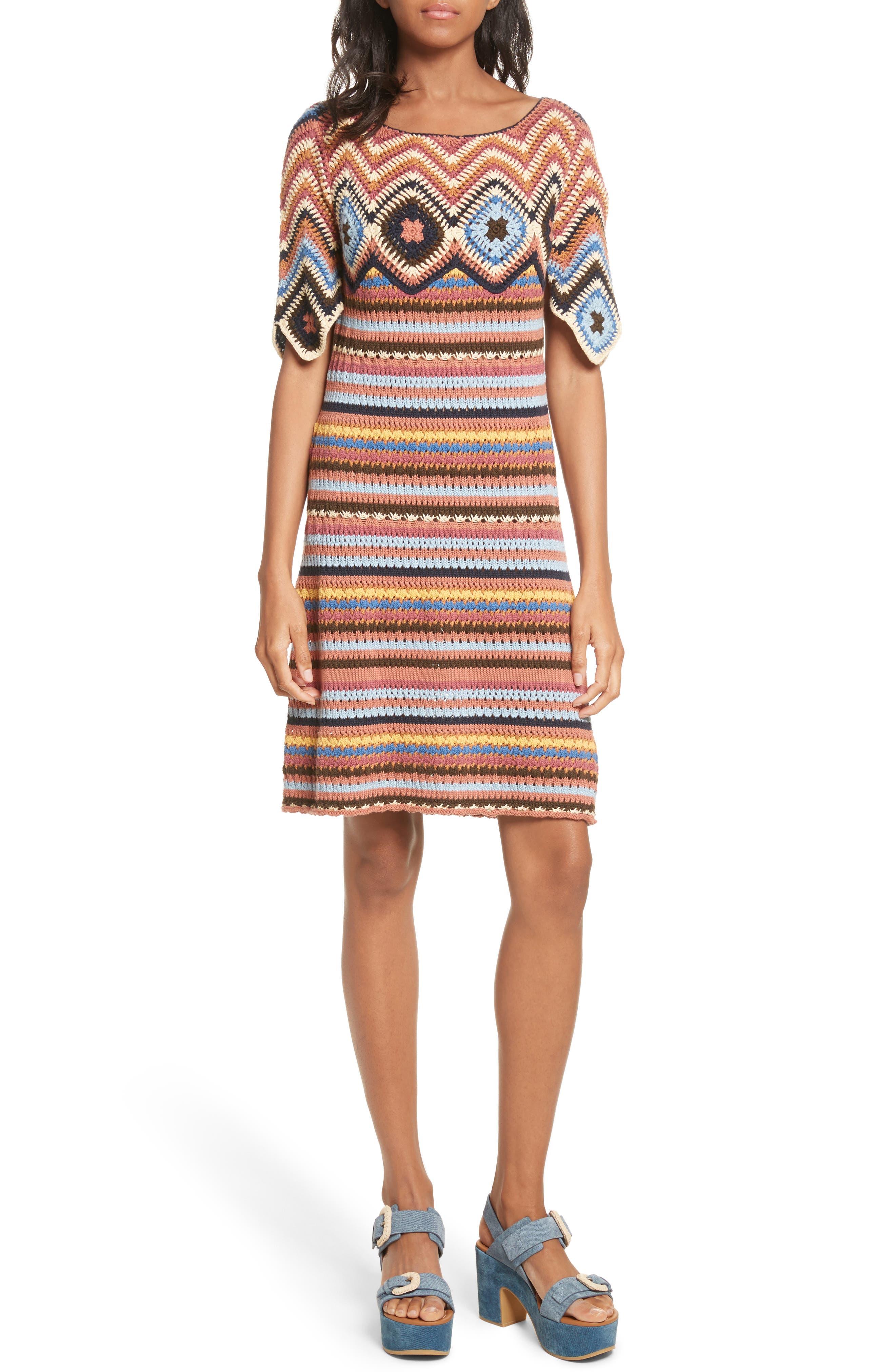 See by Chloé Stripe Crochet Dress