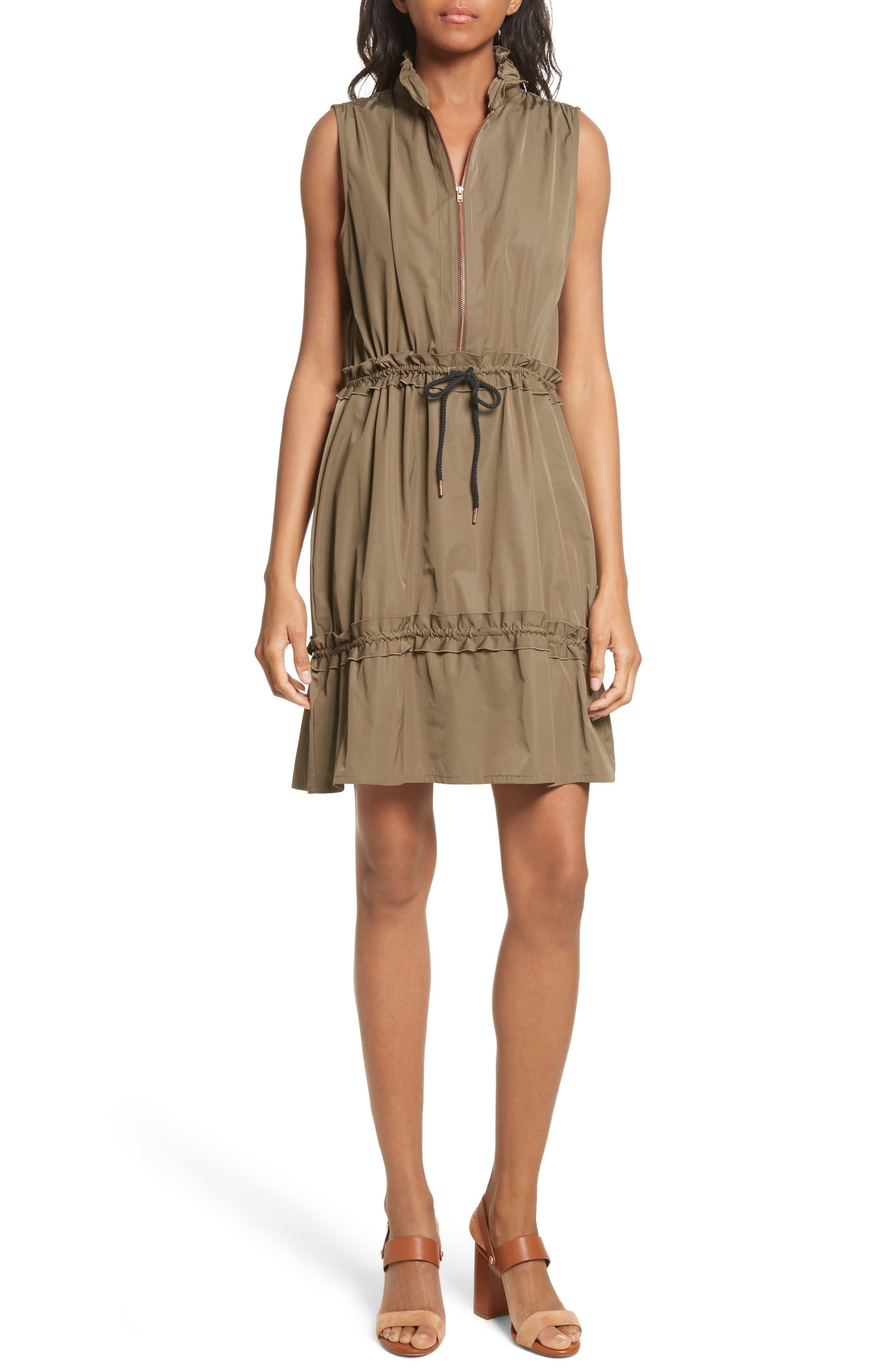 Cinch Waist Army Dress,                         Main,                         color, Cacao Brown