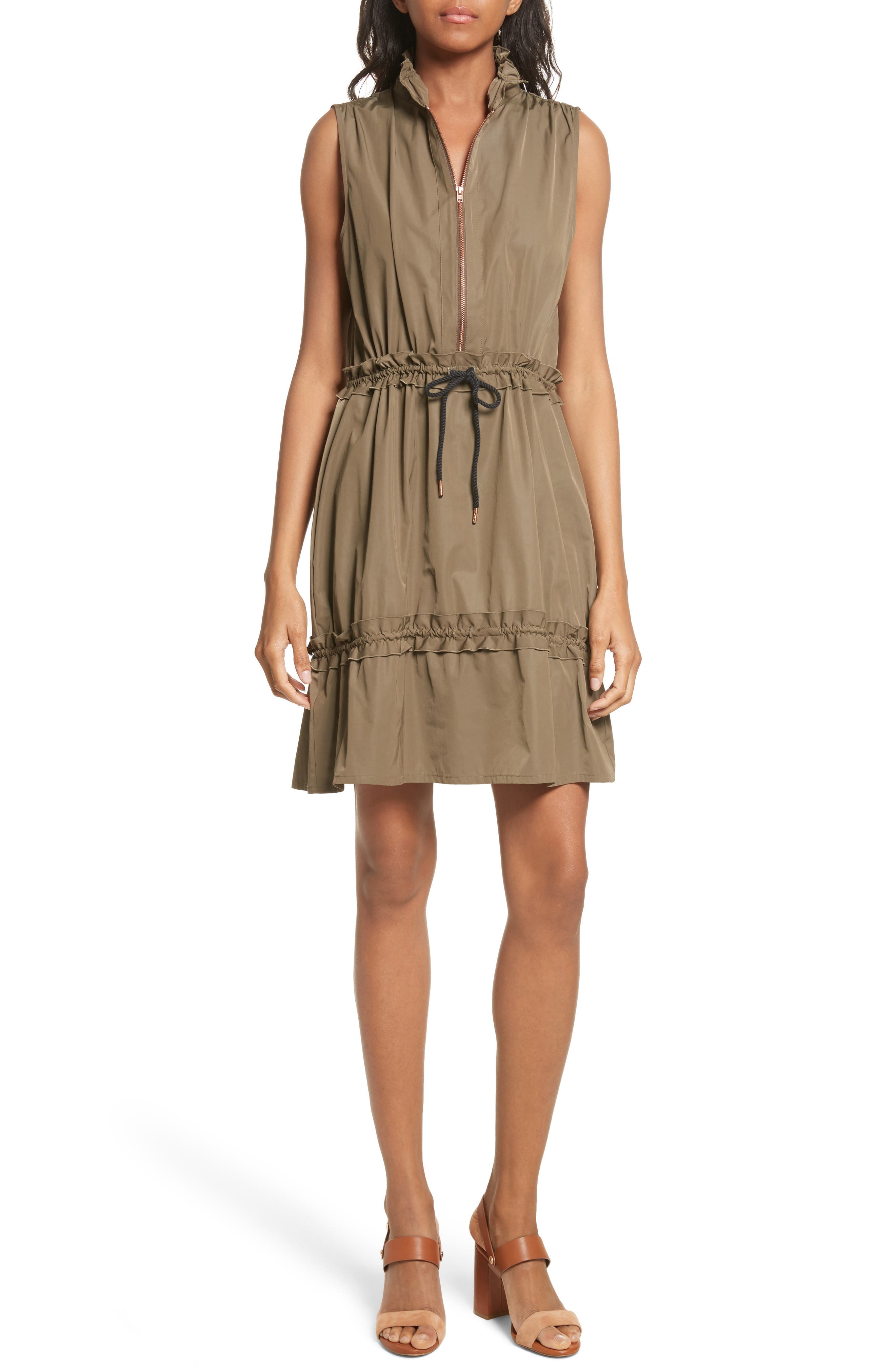 See by Chloé Cinch Waist Army Dress