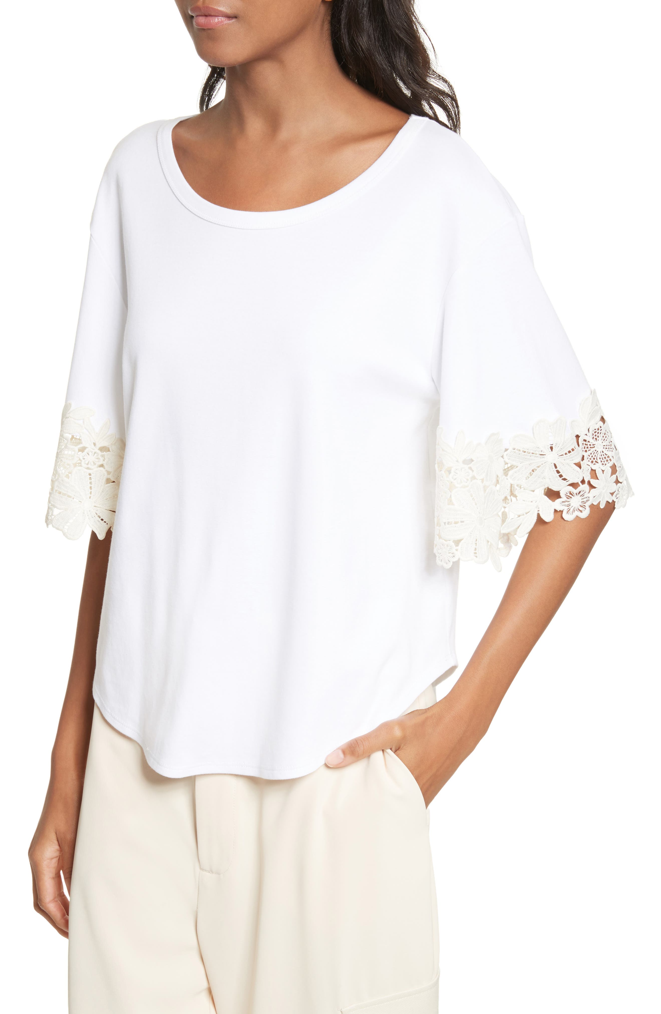Lace Cuff Tee,                             Alternate thumbnail 4, color,                             White