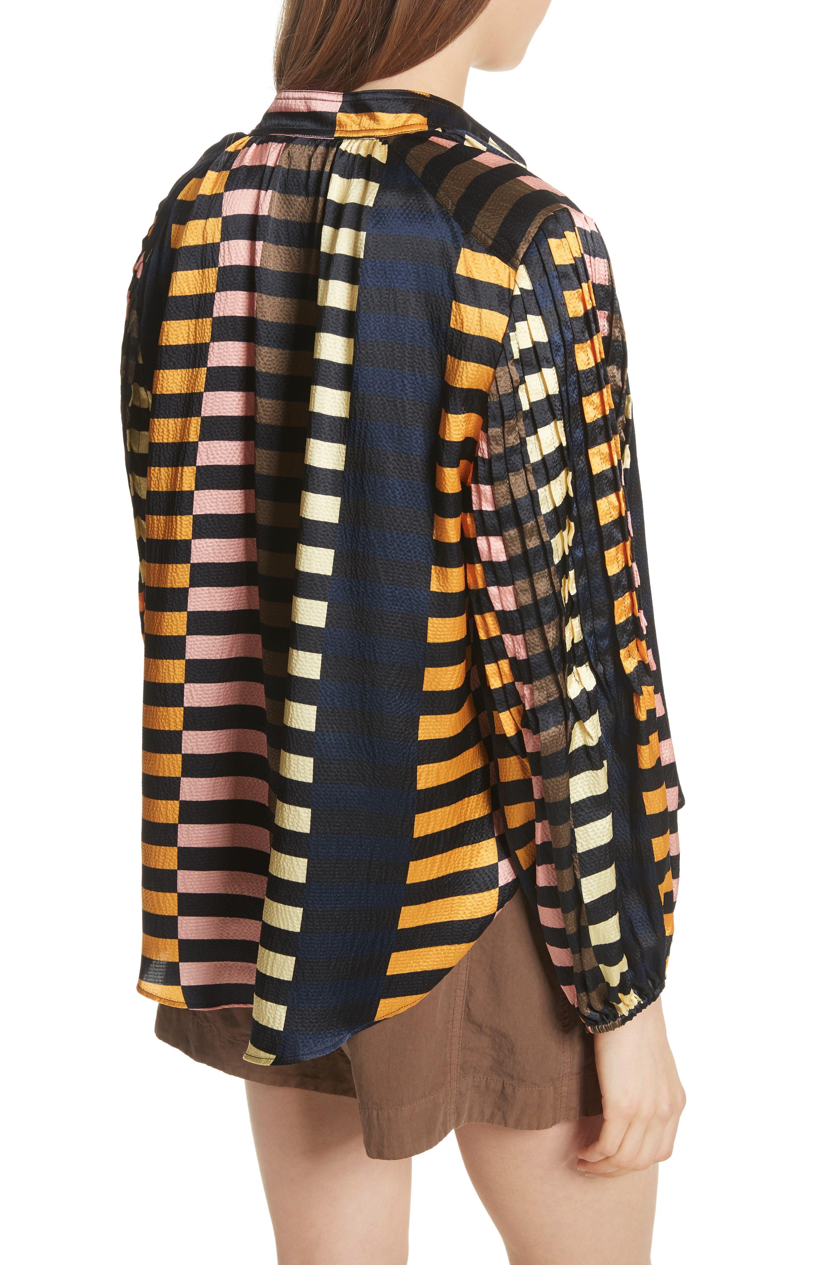 Nuevo Bravo Stripe Silk Top,                             Alternate thumbnail 2, color,                             Majorelle Print