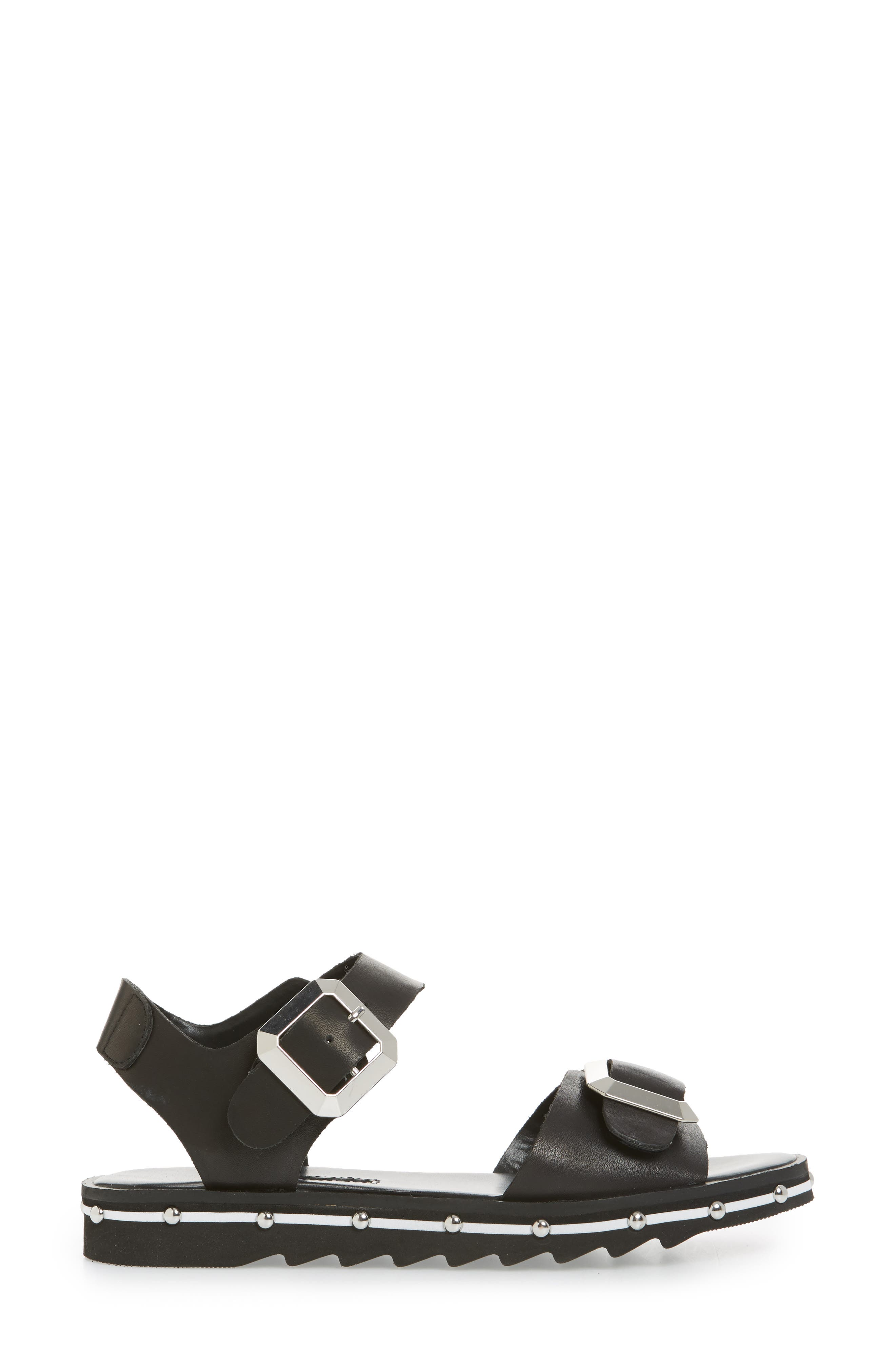 Spy Sandal,                             Alternate thumbnail 3, color,                             Black Leather