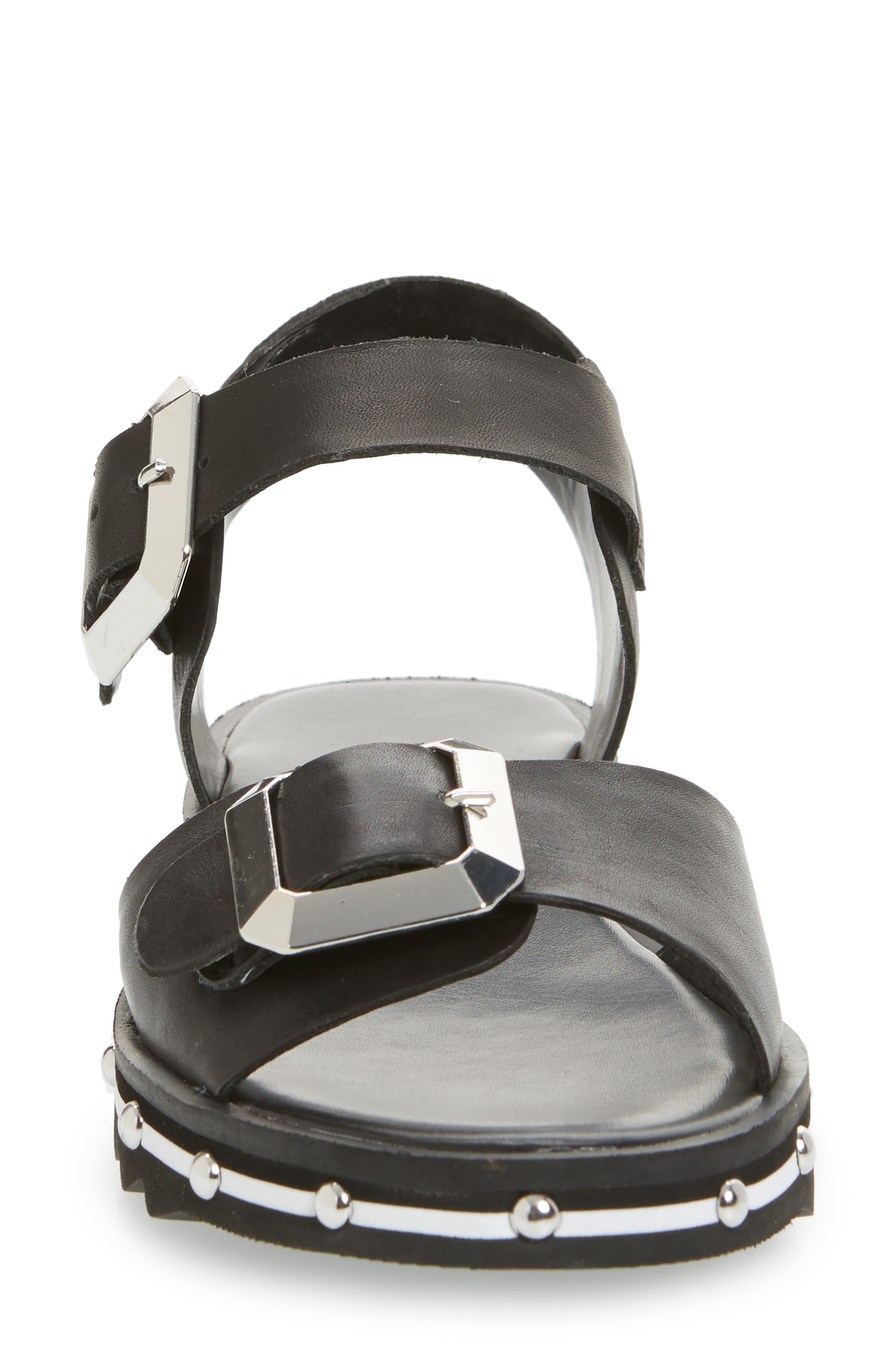 Spy Sandal,                             Alternate thumbnail 4, color,                             Black Leather