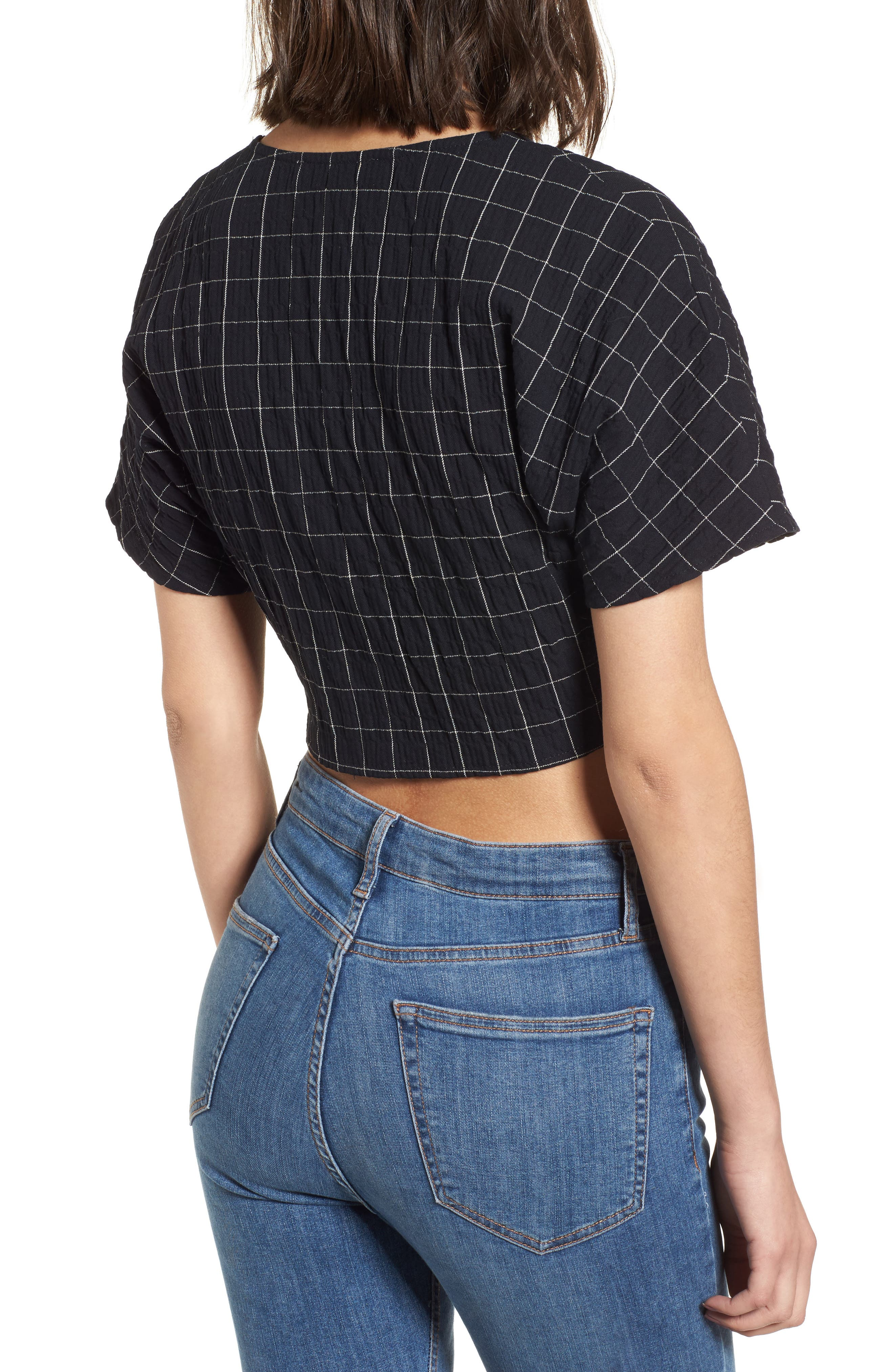 Tie Front Crop Top,                             Alternate thumbnail 2, color,                             Black