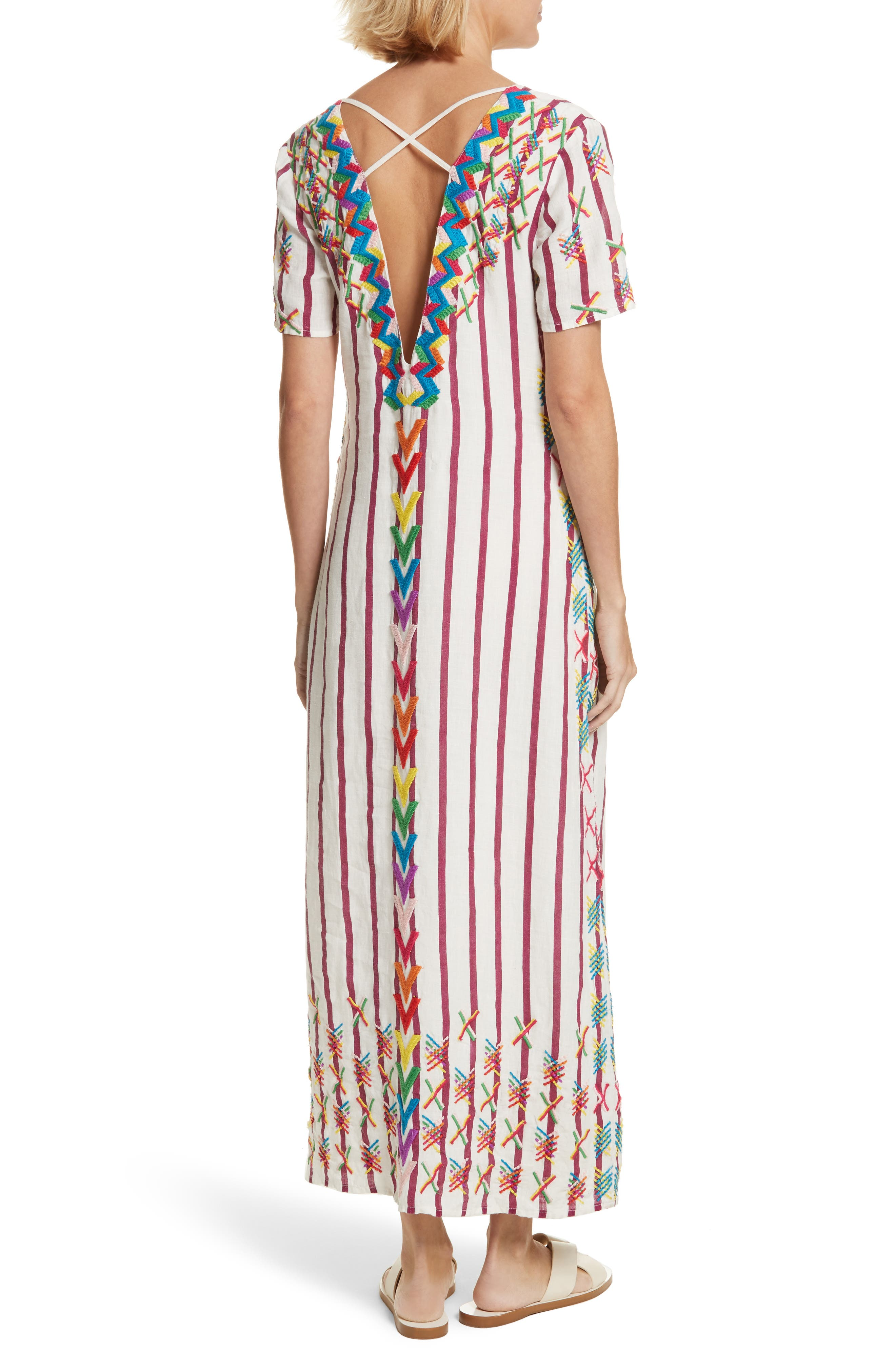 Maria Embroidered Maxi Dress,                             Alternate thumbnail 2, color,                             Off White/ Burgundy