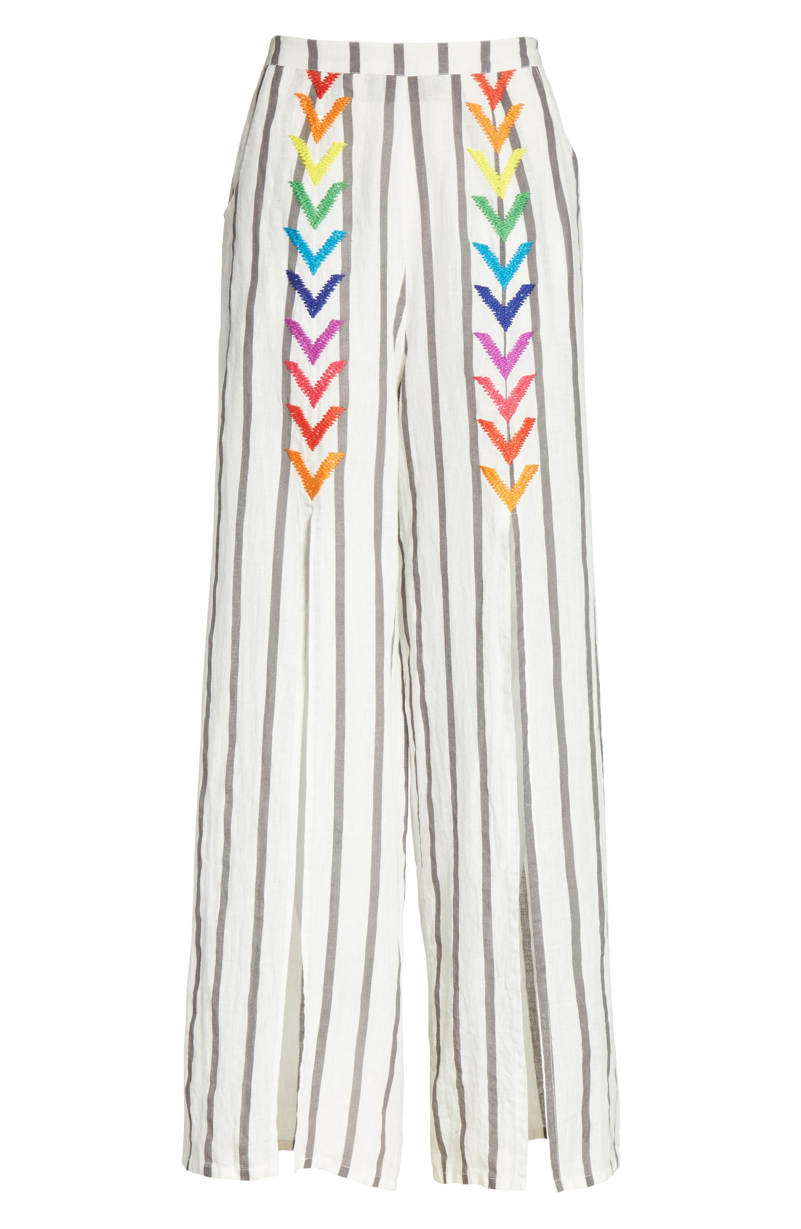 Andrea Embroidered Wide Leg Pants,                             Alternate thumbnail 6, color,                             Off White/ Grey