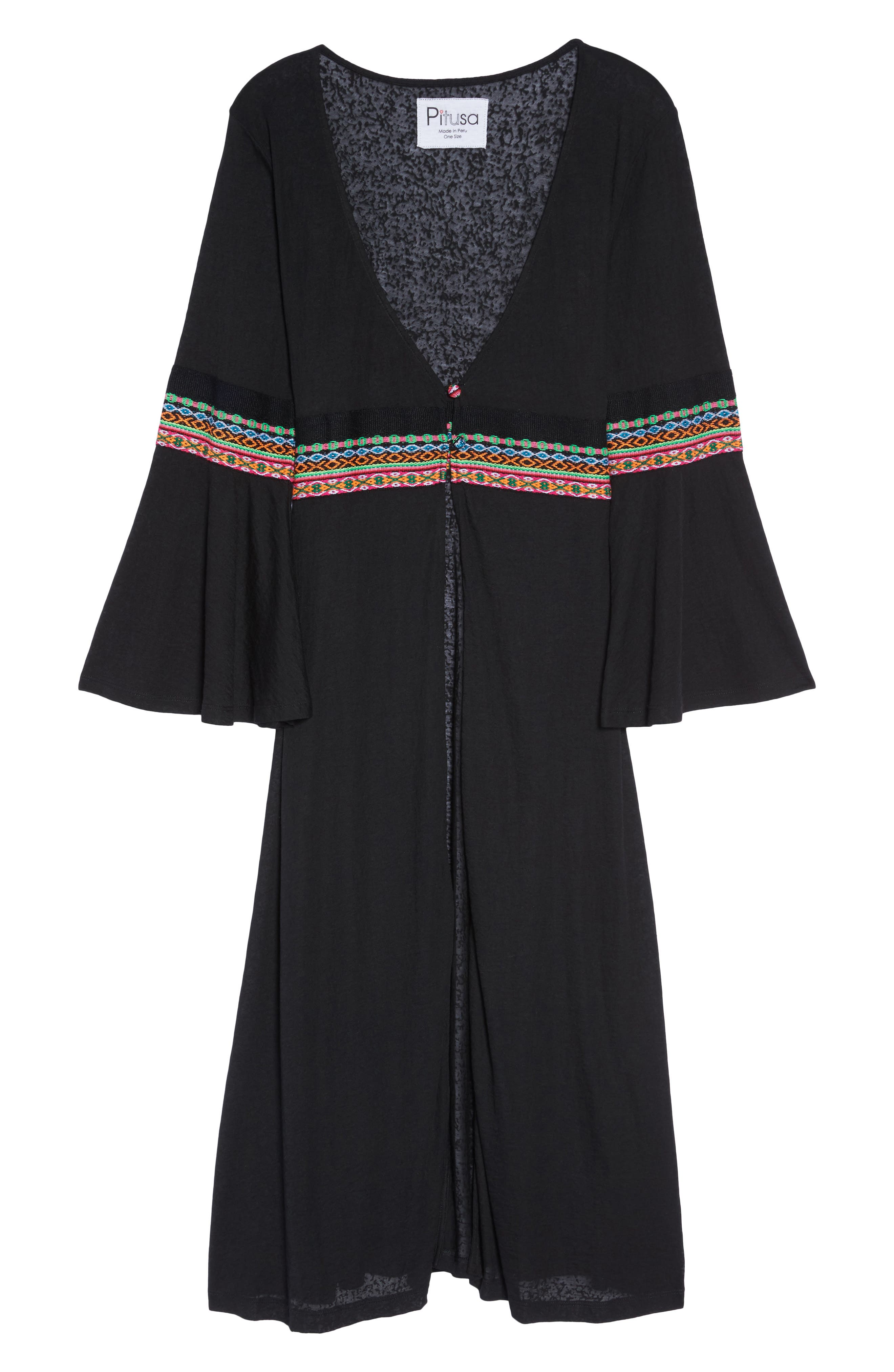 Embroidered Cover-Up,                             Alternate thumbnail 6, color,                             Black