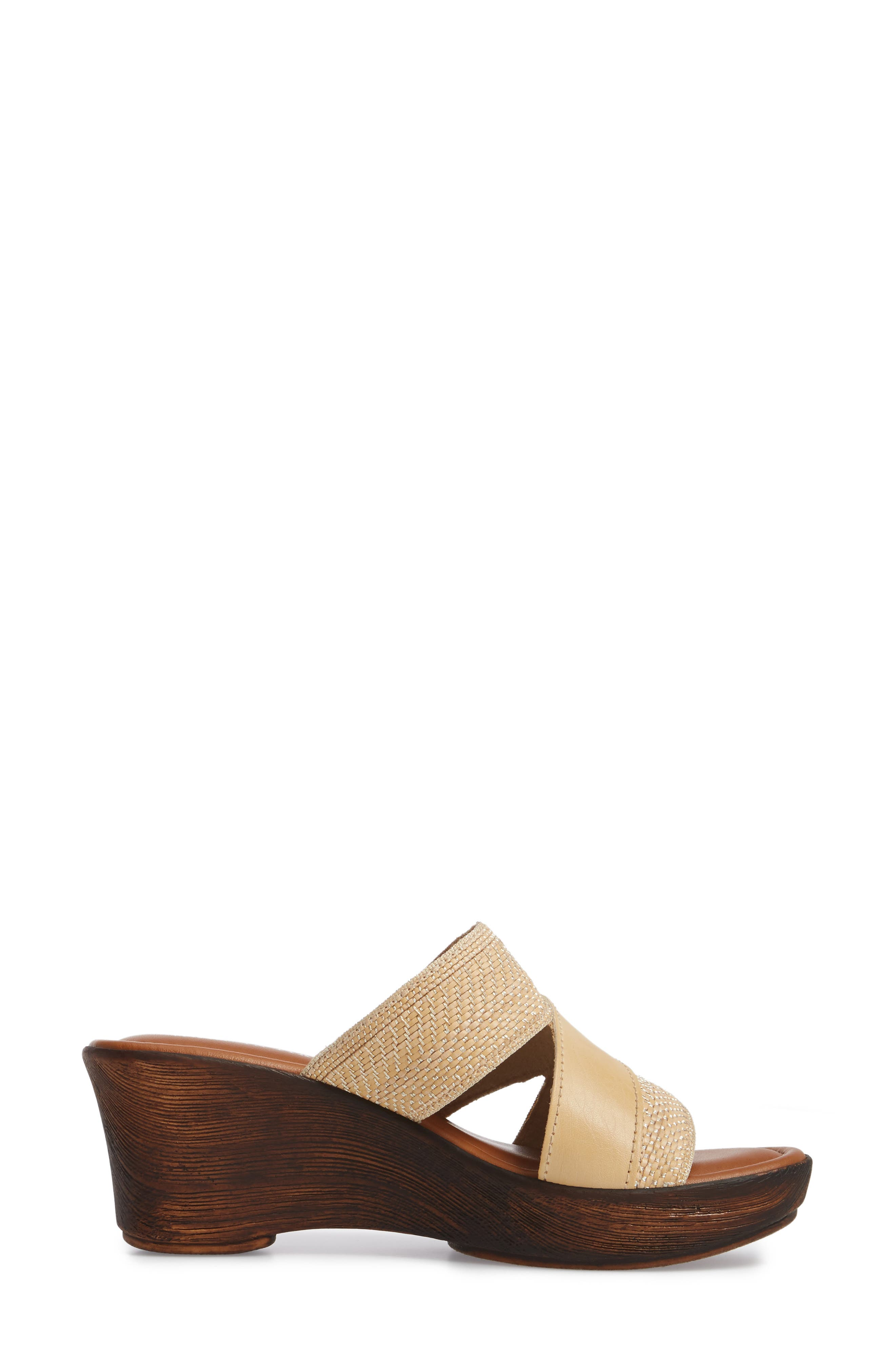 by Easy Street<sup>®</sup> Positano Sandal,                             Alternate thumbnail 3, color,                             Beige/ Woven Faux Leather