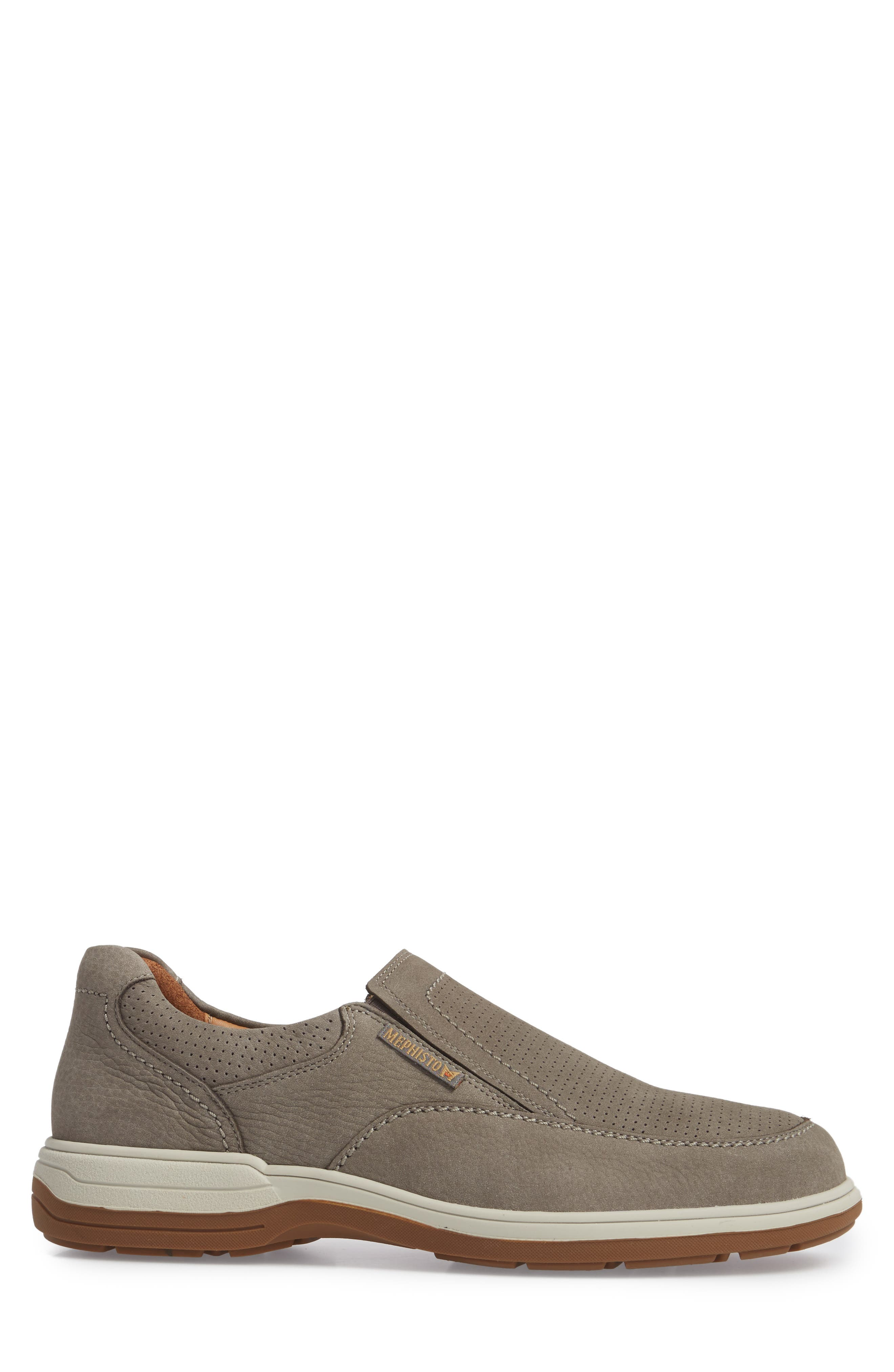 Davy Perforated Slip-On Sneaker,                             Alternate thumbnail 3, color,                             Grey