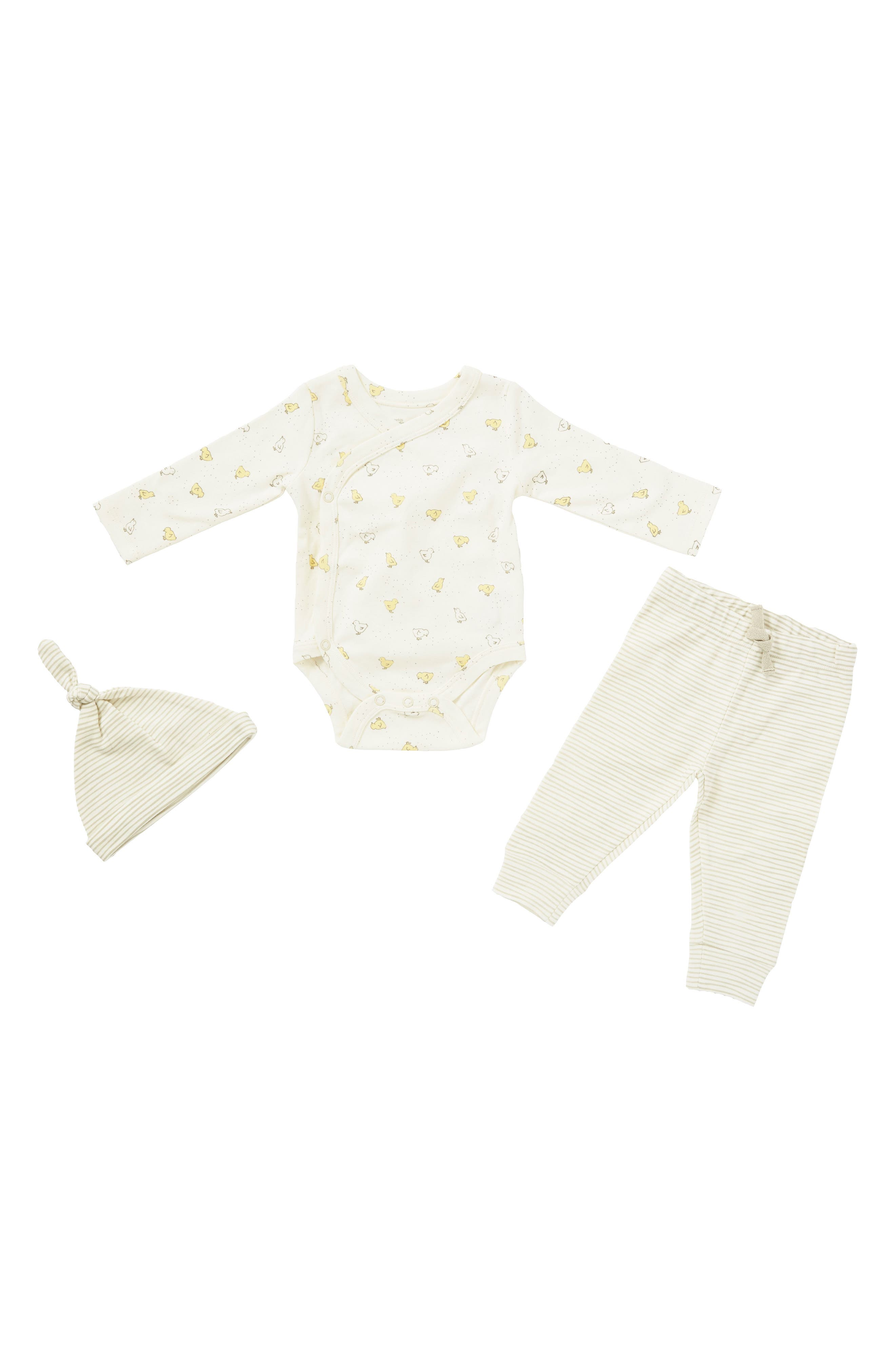Main Image - Petit Pehr Baby Chick Bodysuit, Pants & Hat Set (Baby)