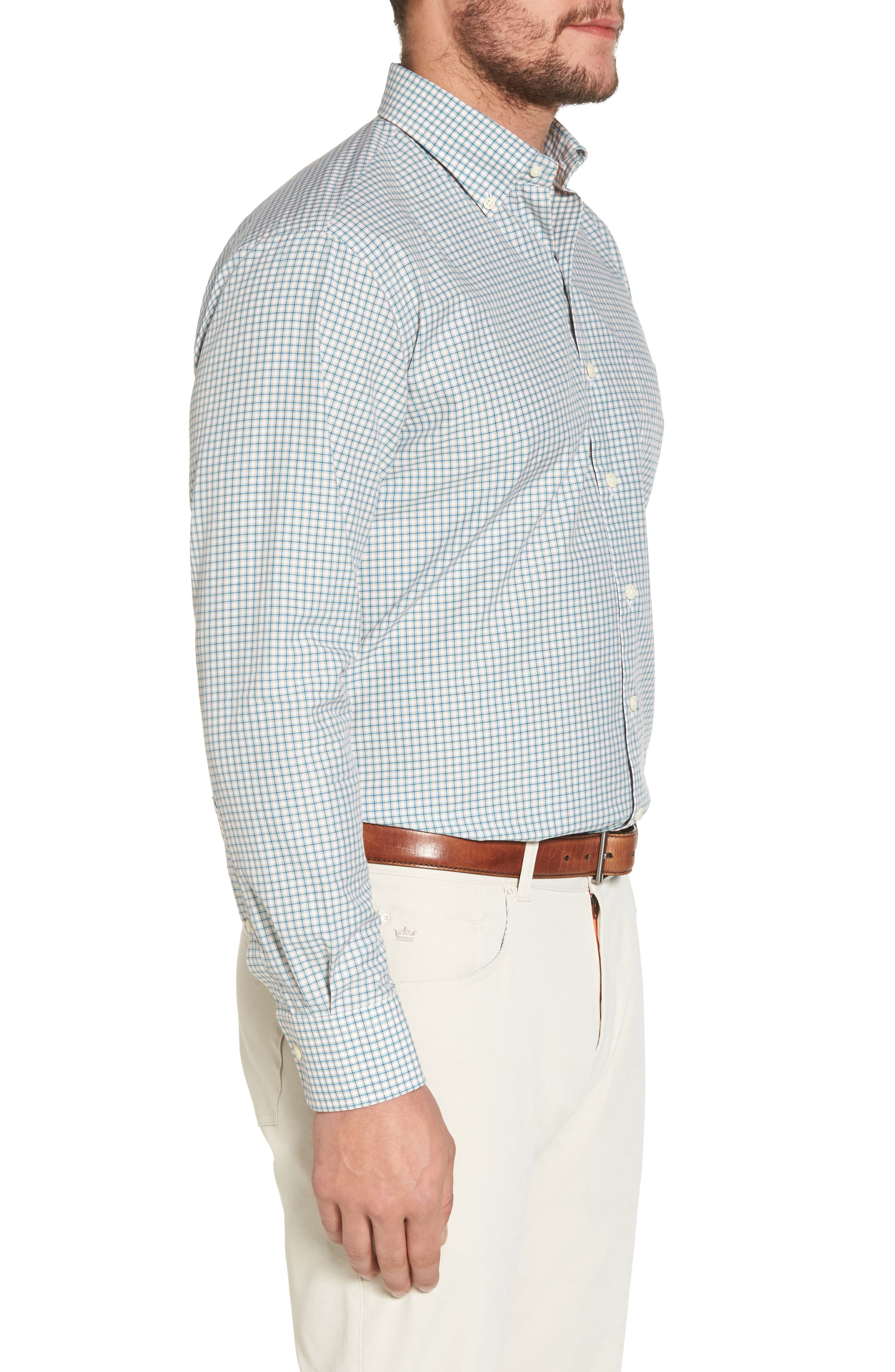 Classic Fit Alligator Check Sport Shirt,                             Alternate thumbnail 3, color,                             Dreamsicle