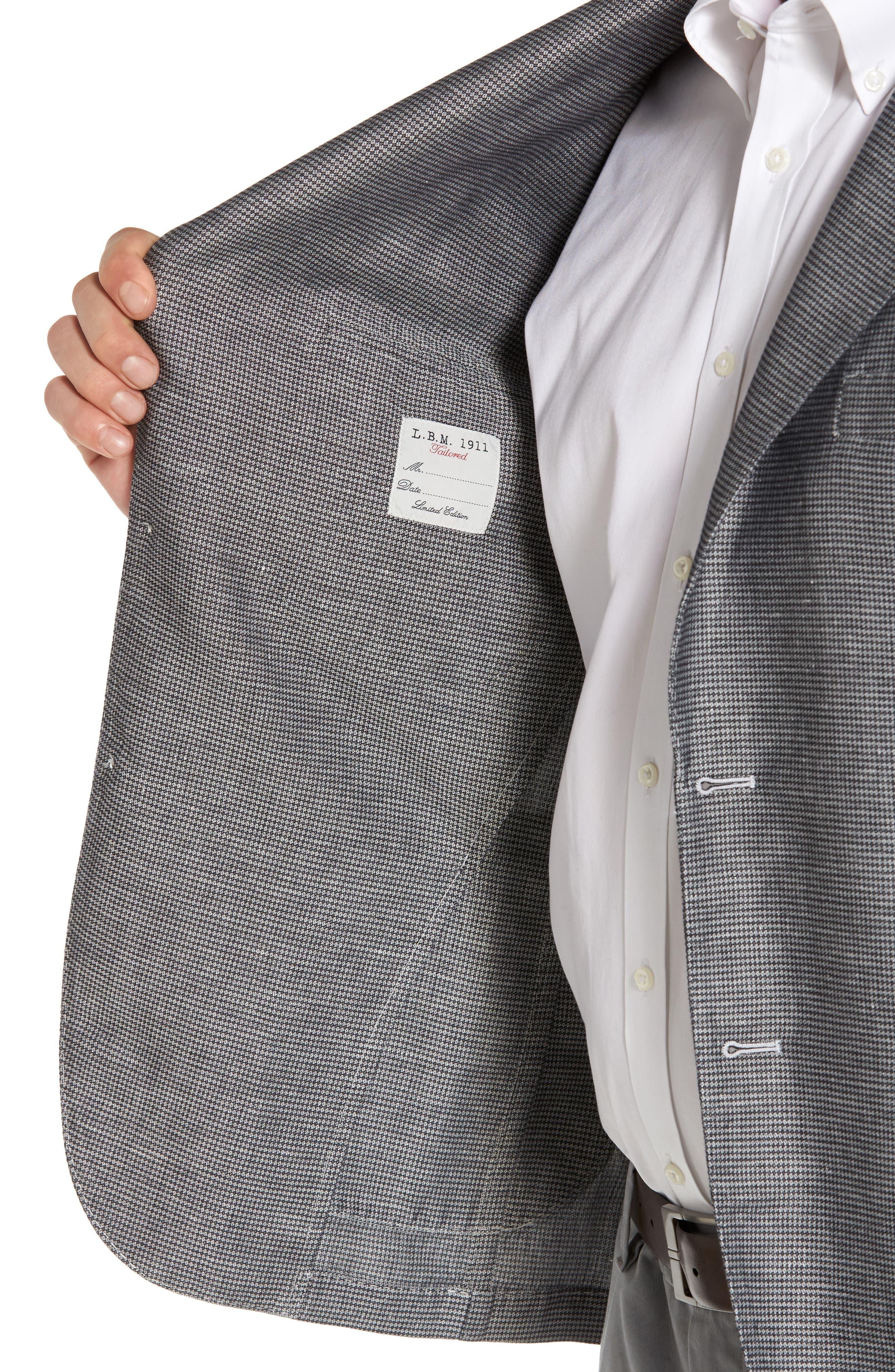Classic Fit Houndstooth Linen & Cotton Sport Coat,                             Alternate thumbnail 4, color,                             Light/ Pastel Grey