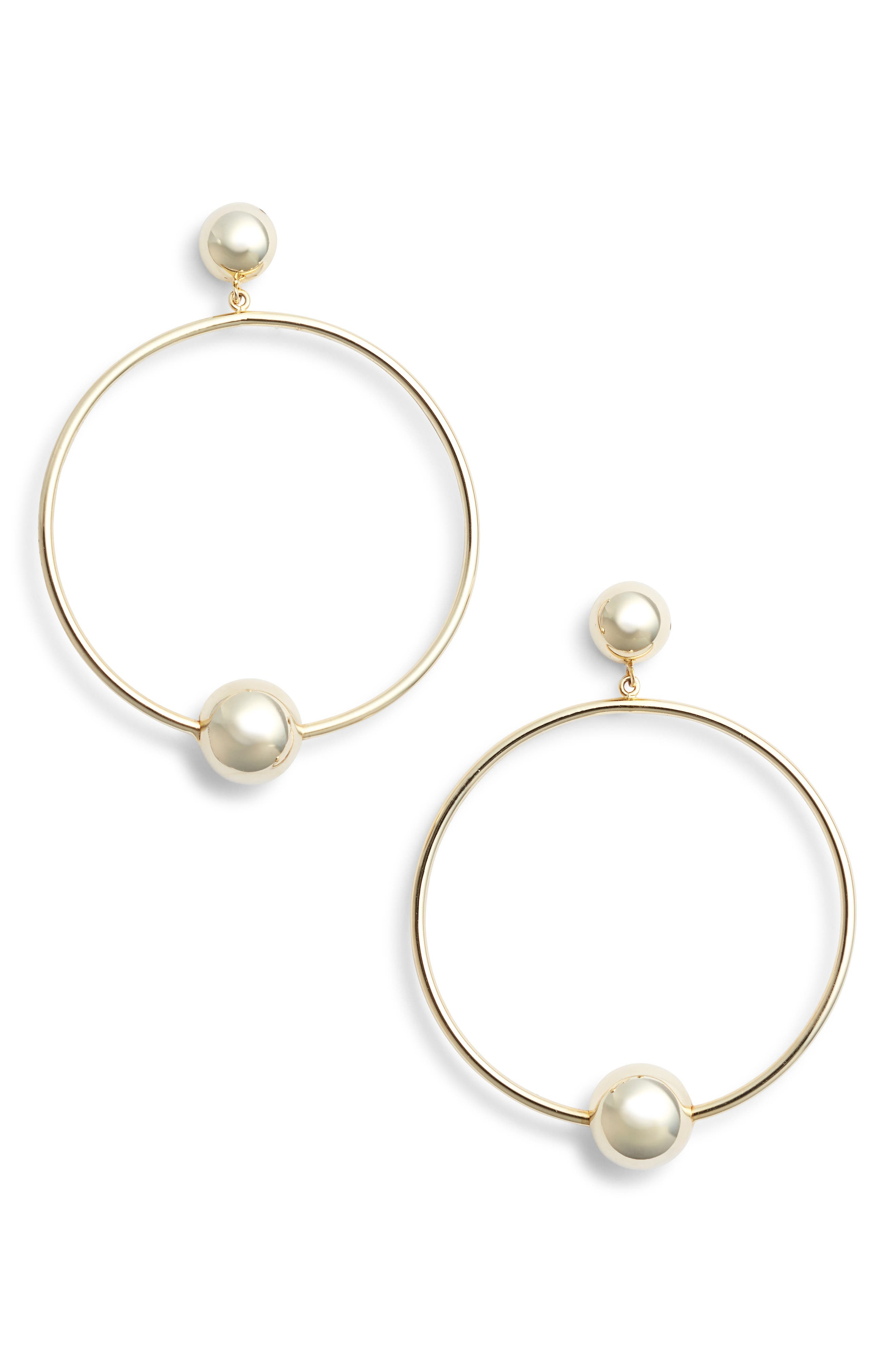Open Circle Sphere Drop Earrings,                         Main,                         color, Gold