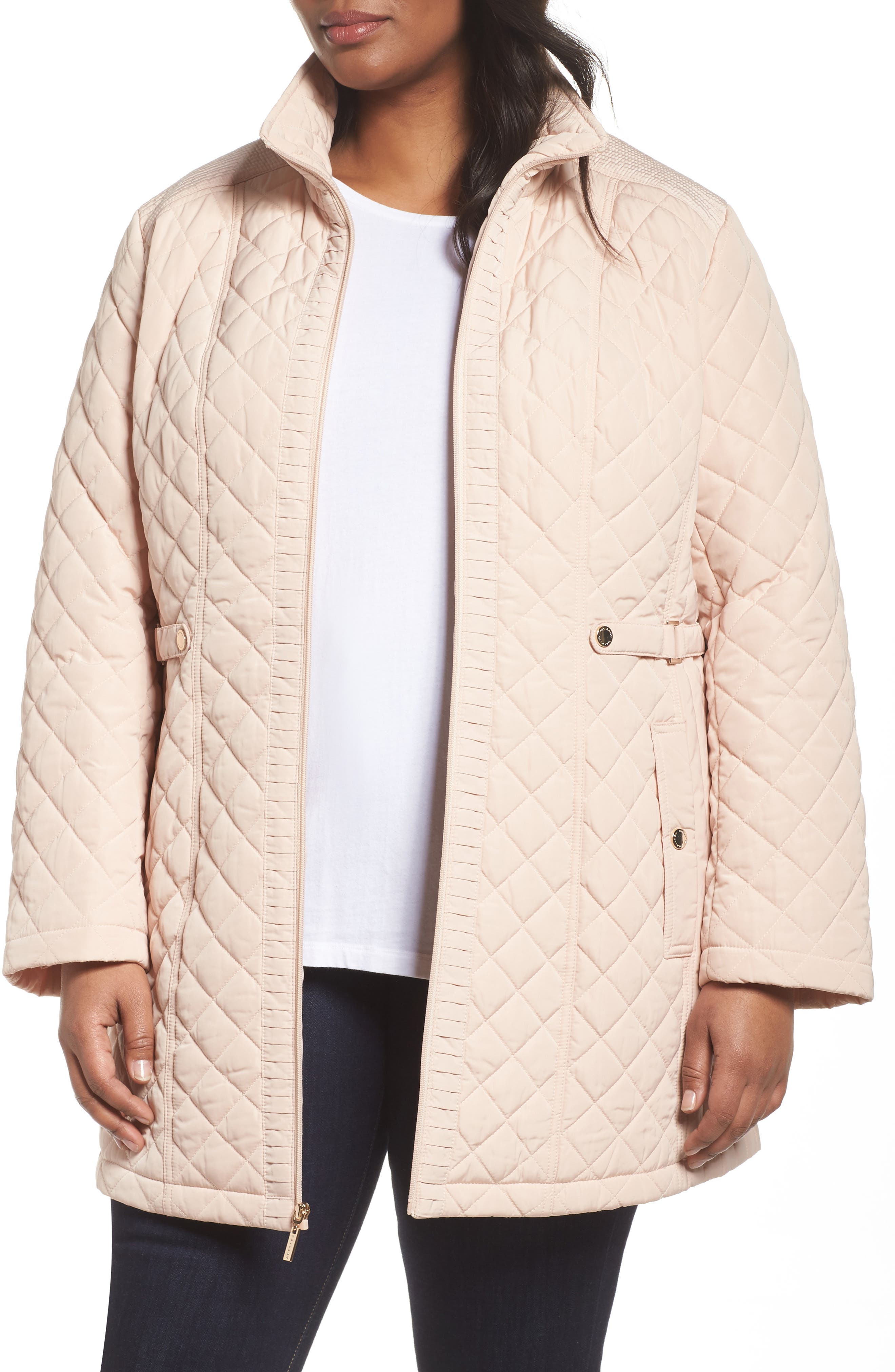 Gallery Quilted Long Jacket (Plus Size)