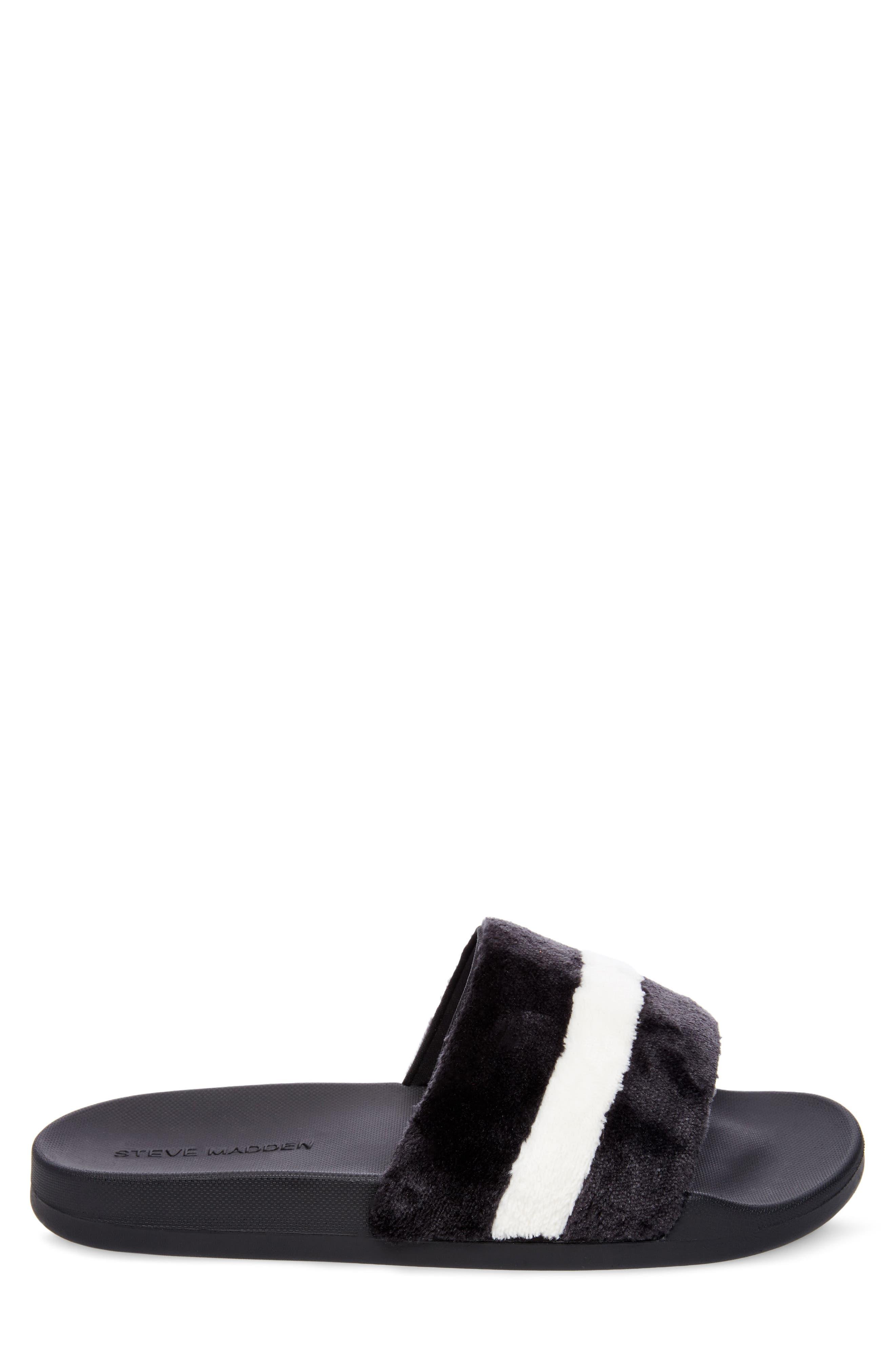 Resport Plush Slide Sandal,                             Alternate thumbnail 3, color,                             Black/ White