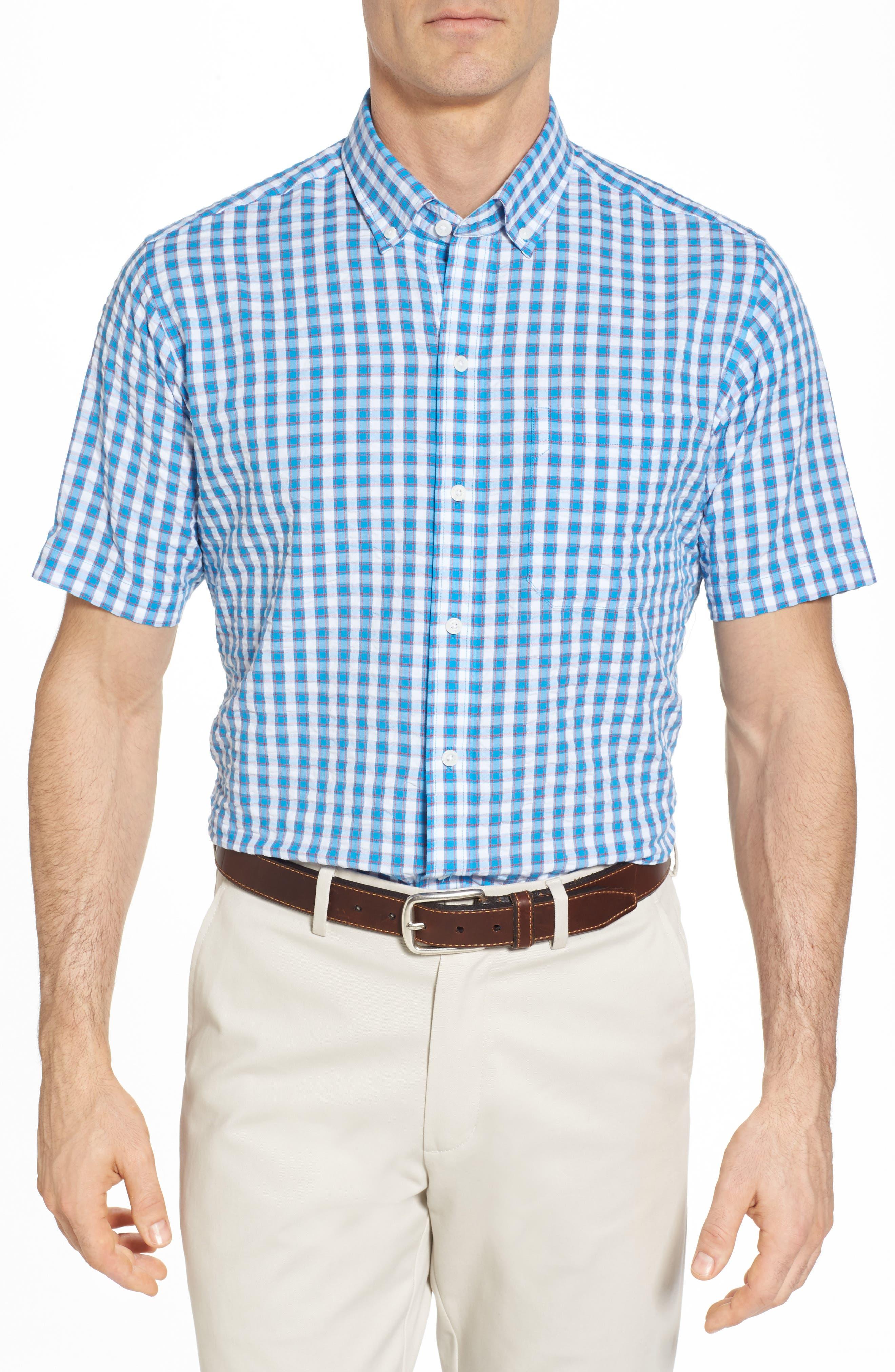 Tyler Classic Fit Seersucker Sport Shirt,                         Main,                         color, Poolside
