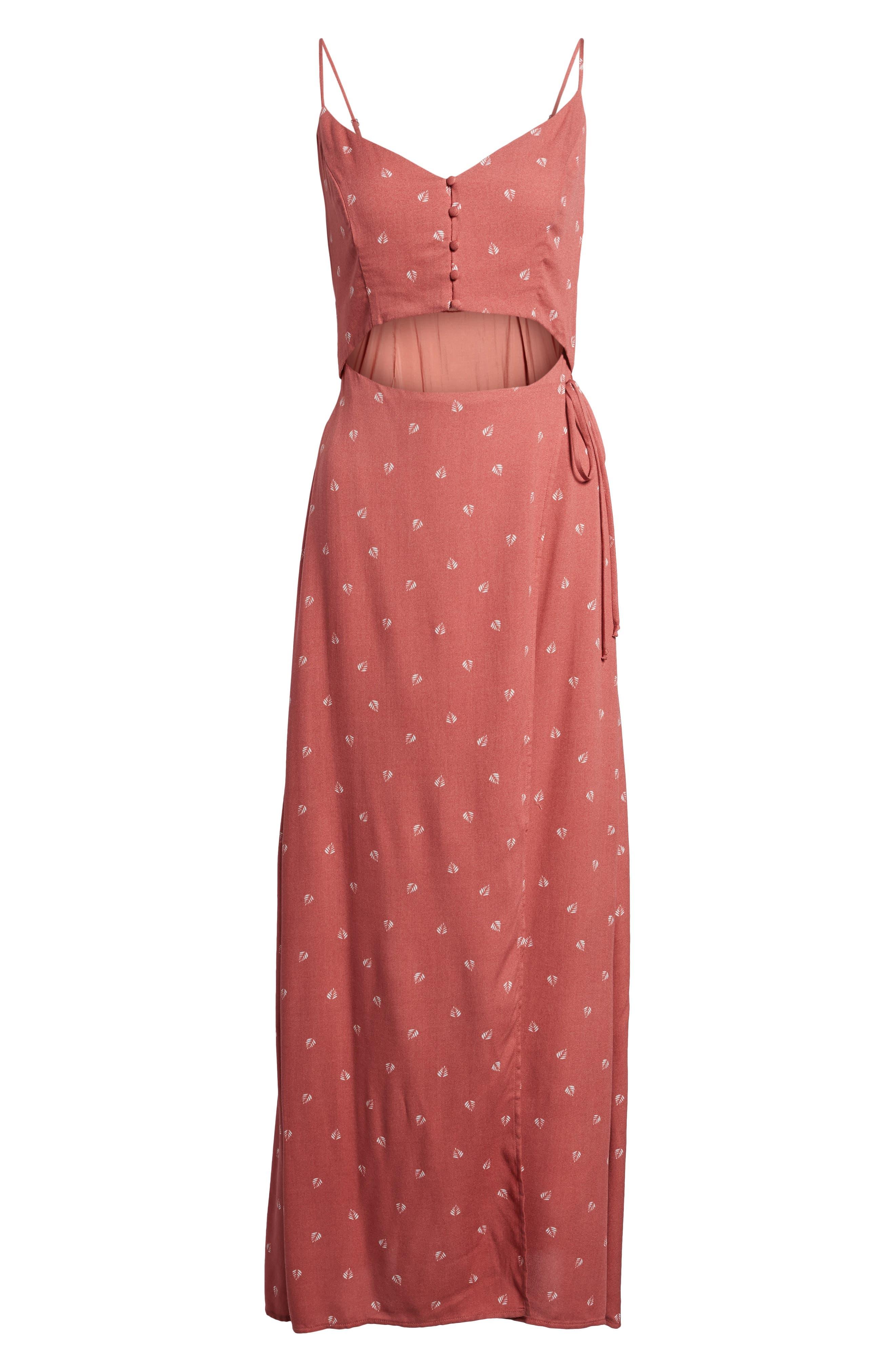 Cutout Wrap Front Maxi Dress,                             Alternate thumbnail 6, color,                             Mauve Leaf