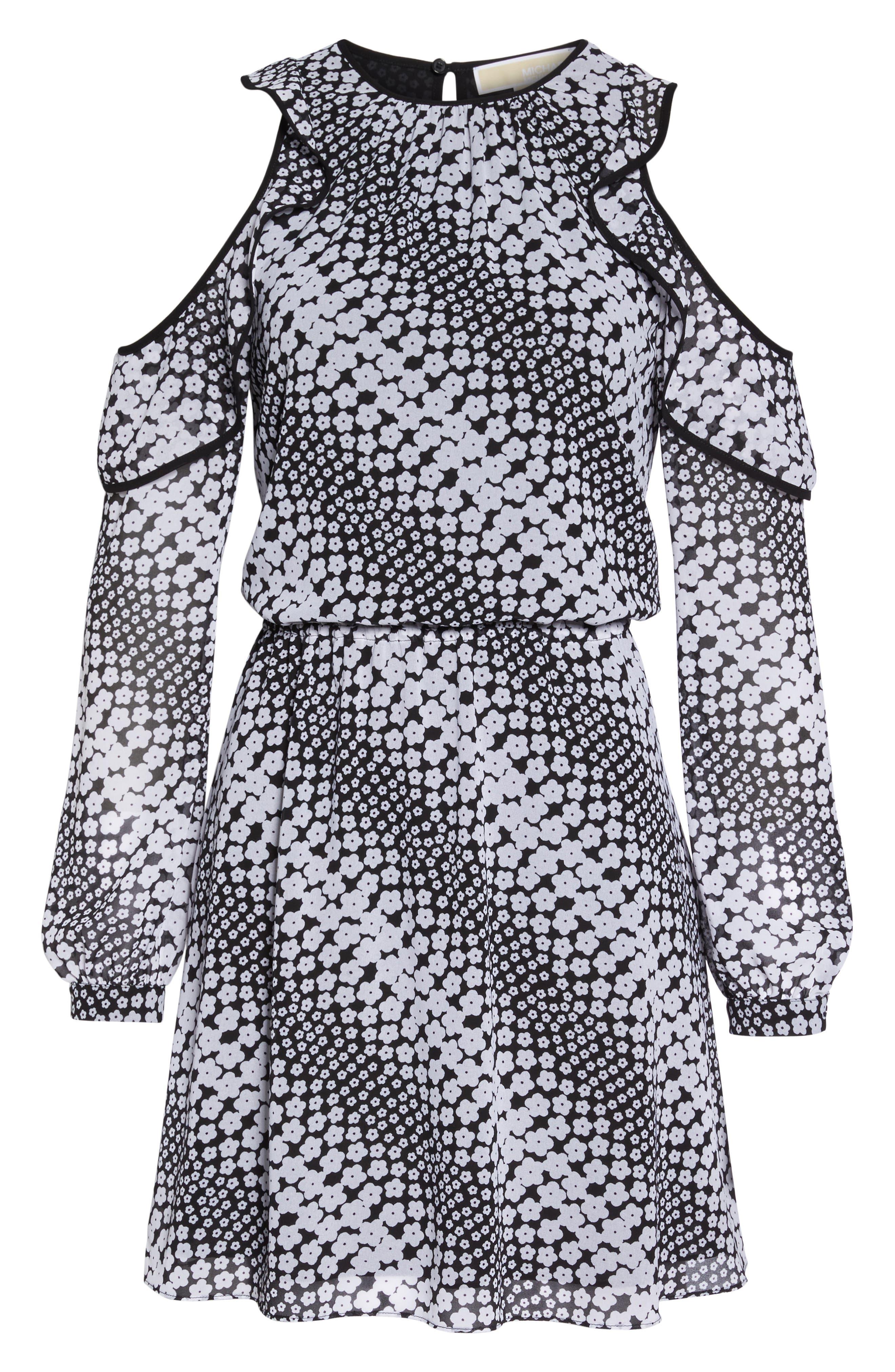 Cold Shoulder Blouson Dress,                             Alternate thumbnail 6, color,                             Black/ White