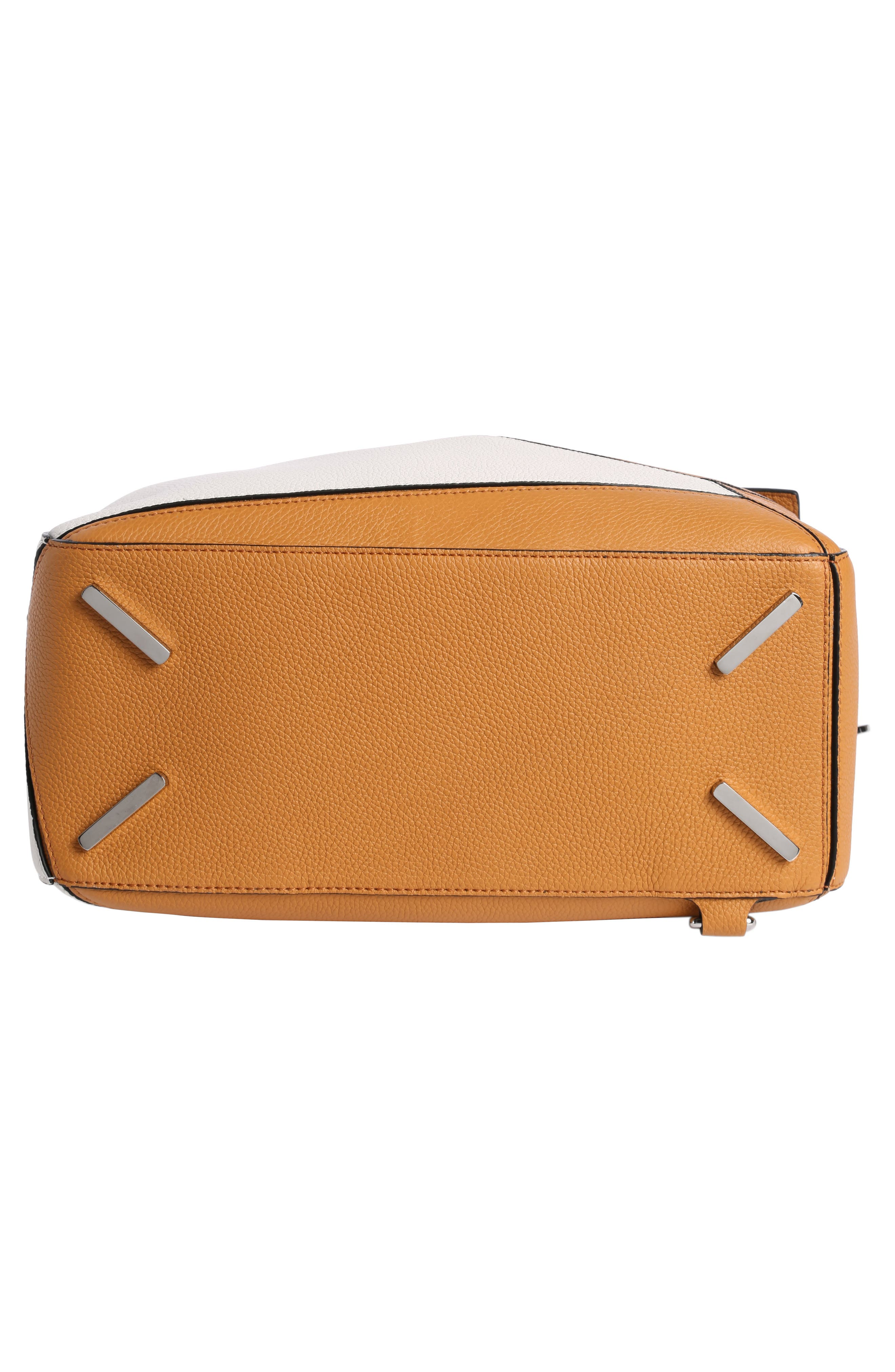 Puzzle Colorblock Calfskin Leather Bag,                             Alternate thumbnail 4, color,                             Soft White/ Amber
