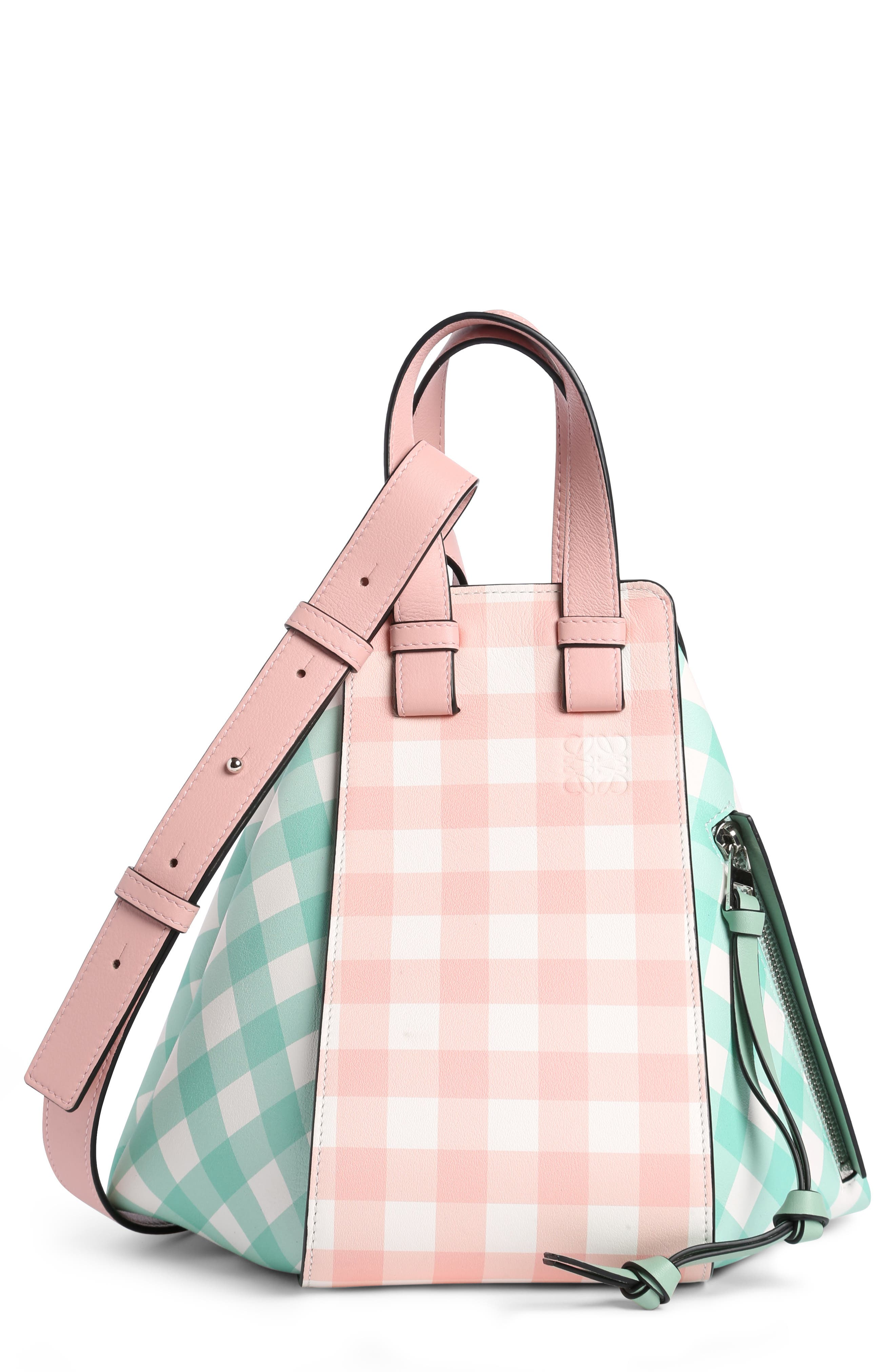 Small Hammock Gingham Leather Shoulder Bag,                         Main,                         color, Salmon/ Seawater Green