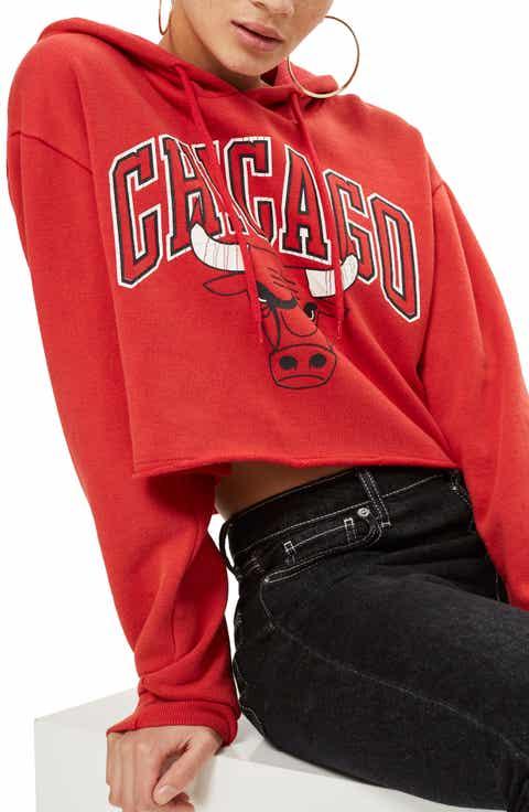 Topshop x UNK Chicago Bulls Crop Hoodie