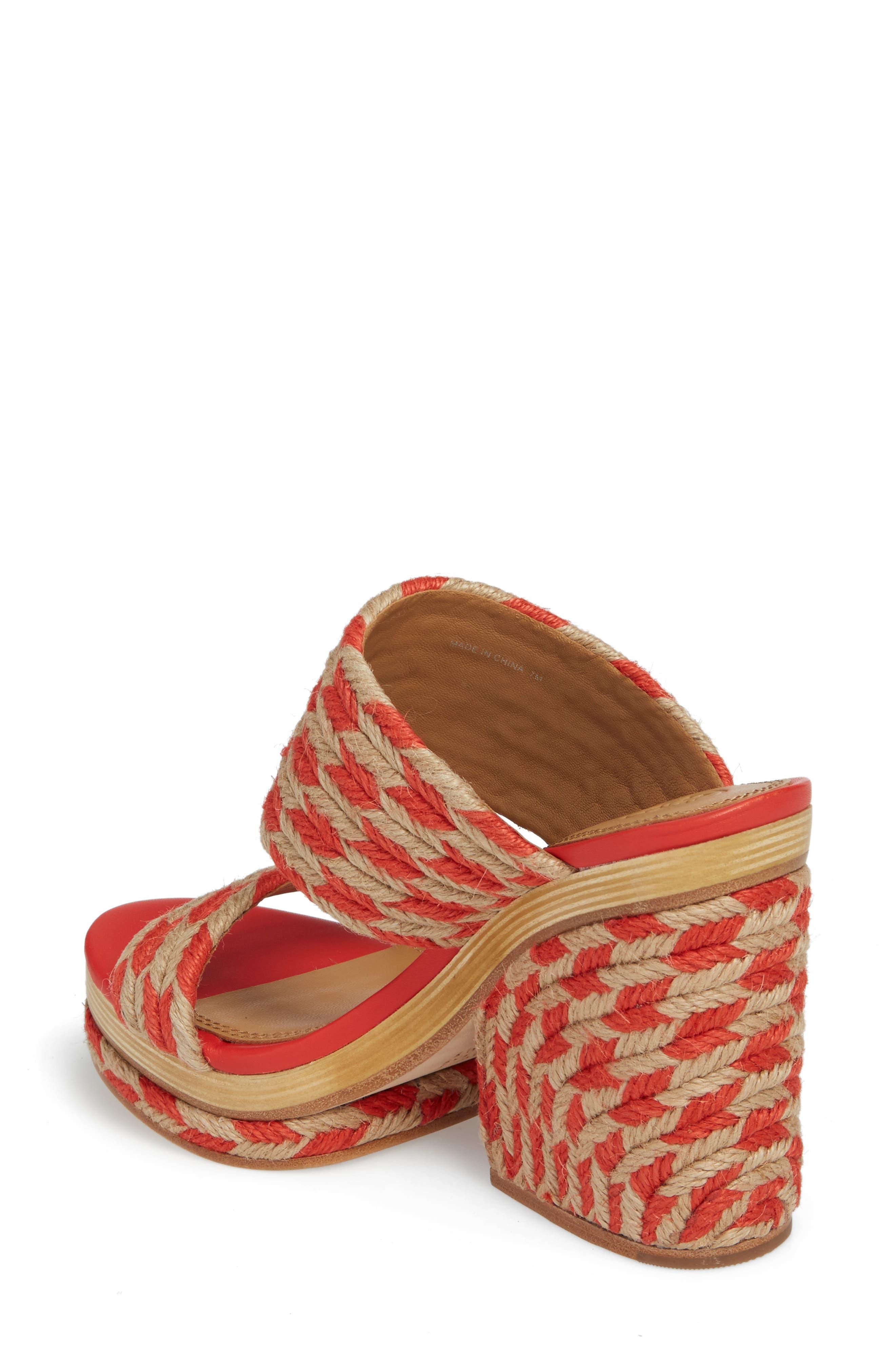 Lola Woven Platform Sandal,                             Alternate thumbnail 2, color,                             Poppy Orange/ Perfect Ivory