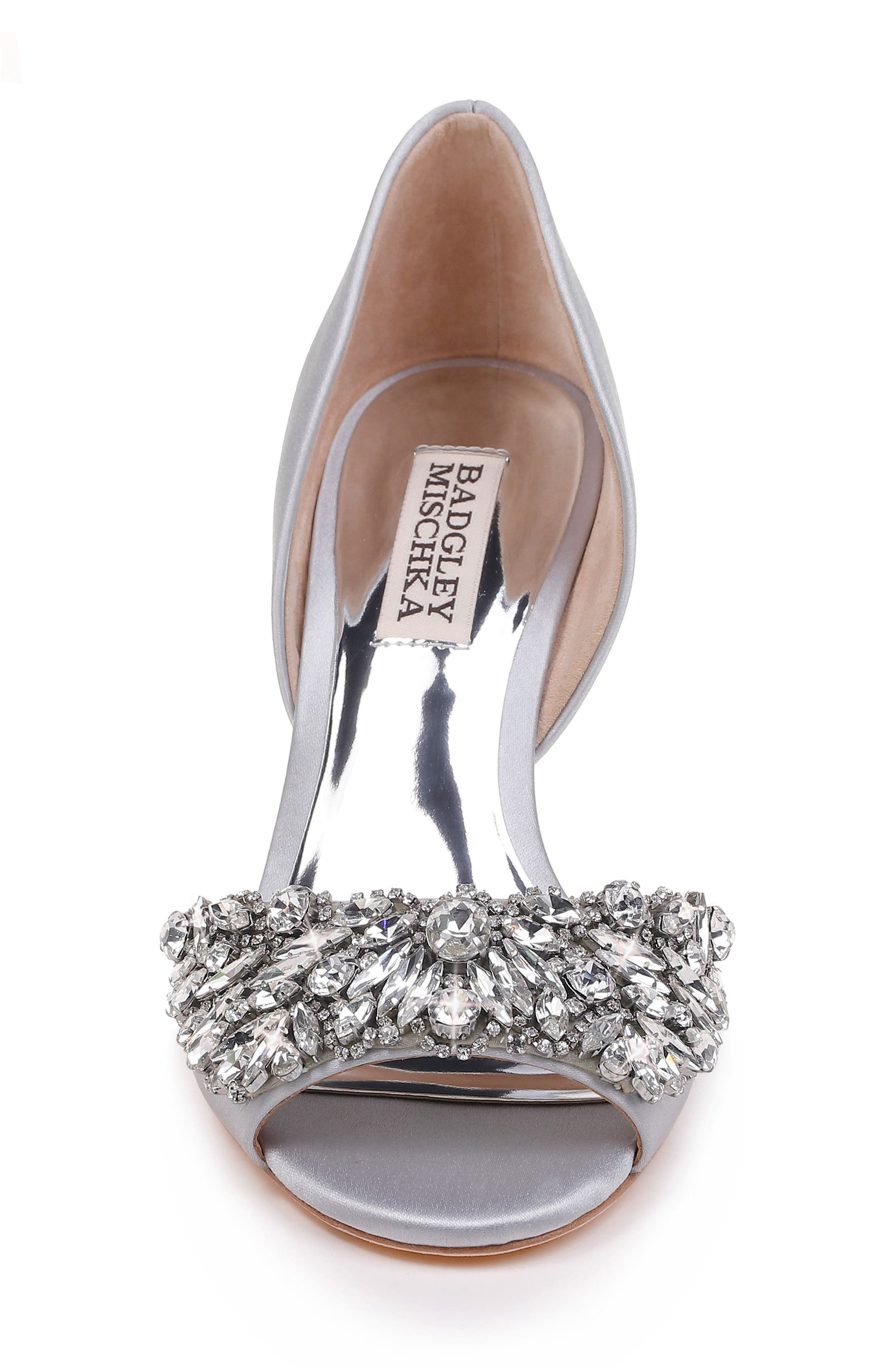 Hardy Embellished Wedge,                             Alternate thumbnail 4, color,                             Silver Satin