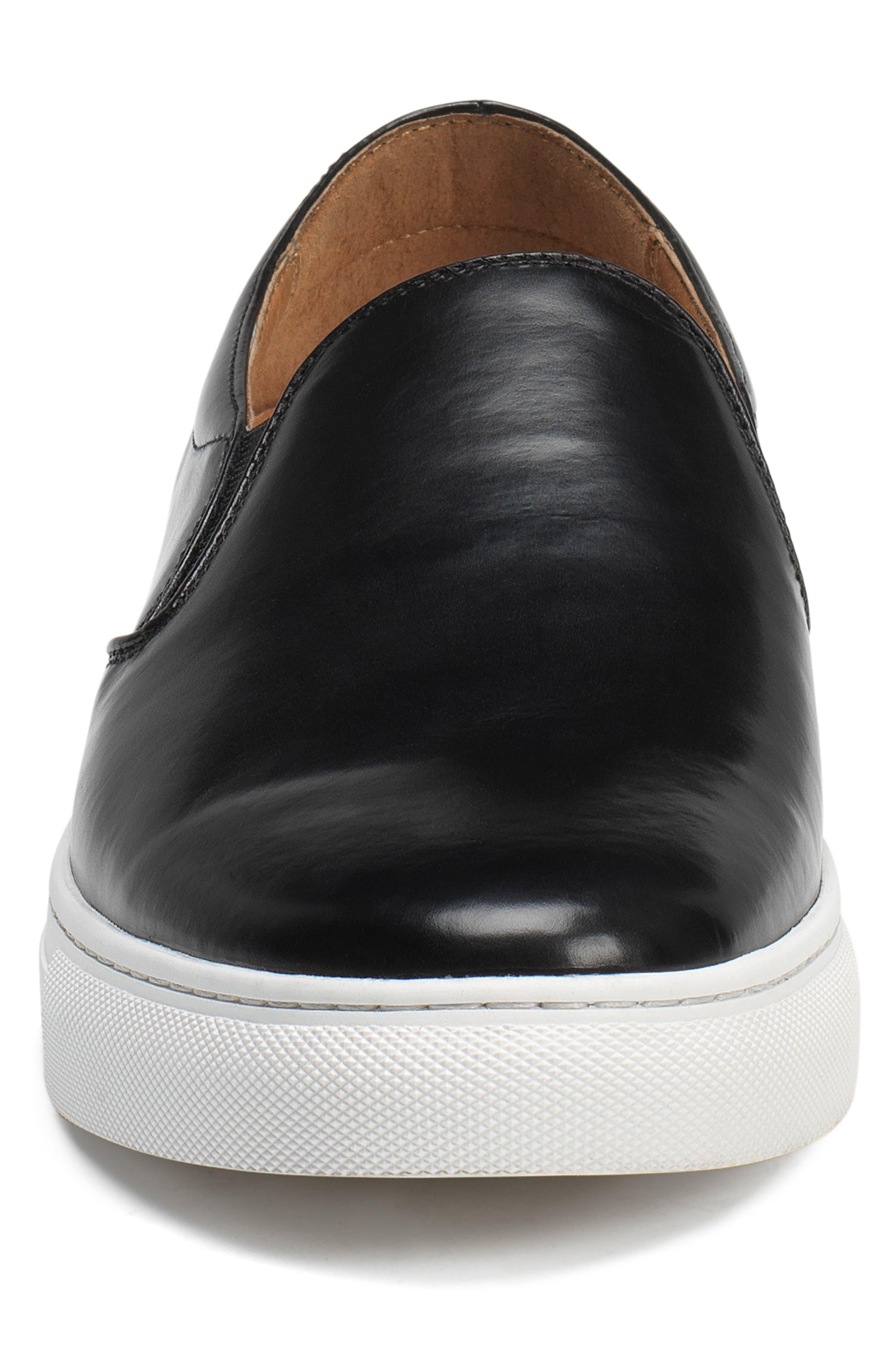Alex Slip-On Sneaker,                             Alternate thumbnail 4, color,                             Black Leather