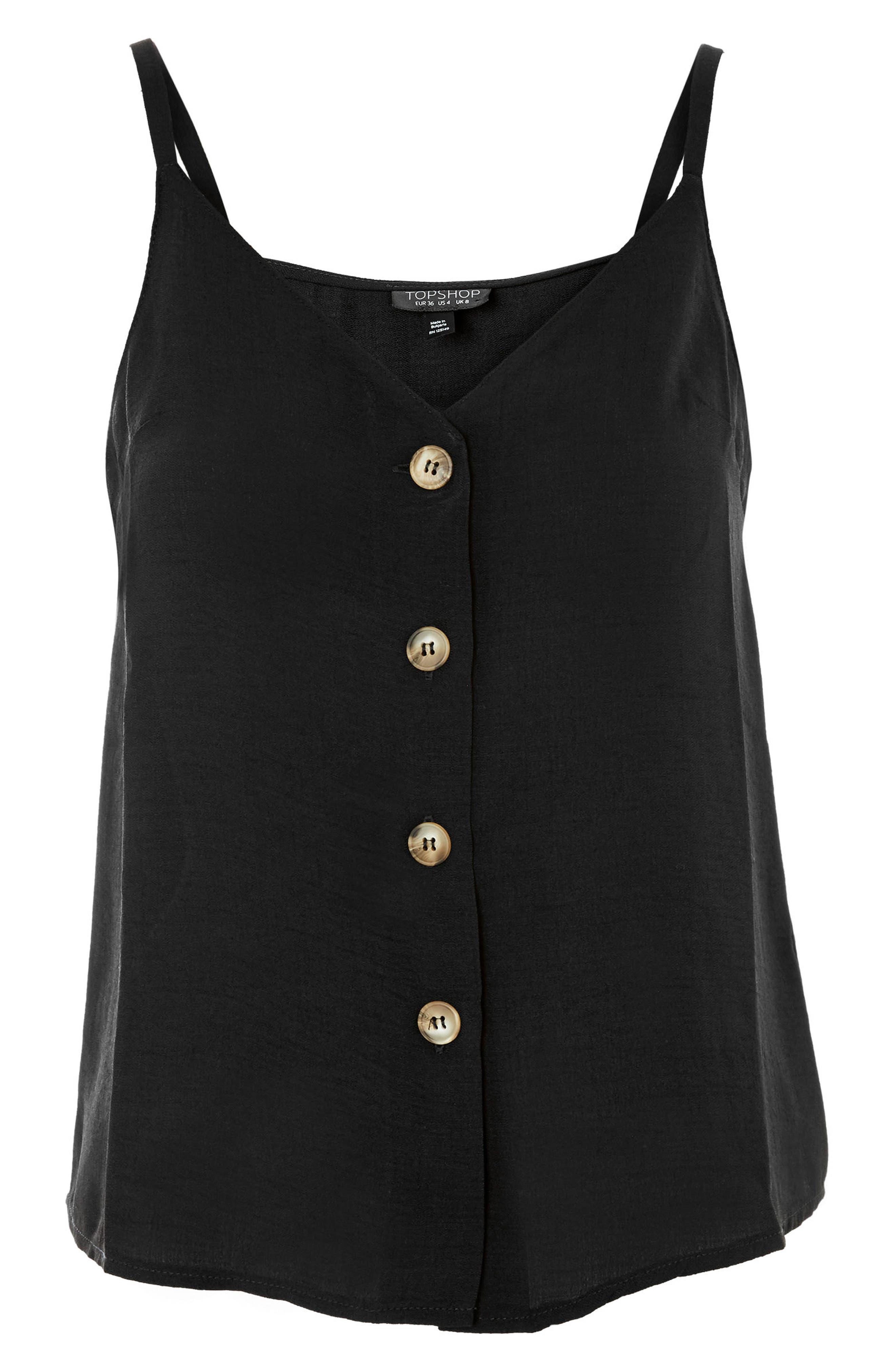 Button Front Camisole,                             Alternate thumbnail 3, color,                             Black
