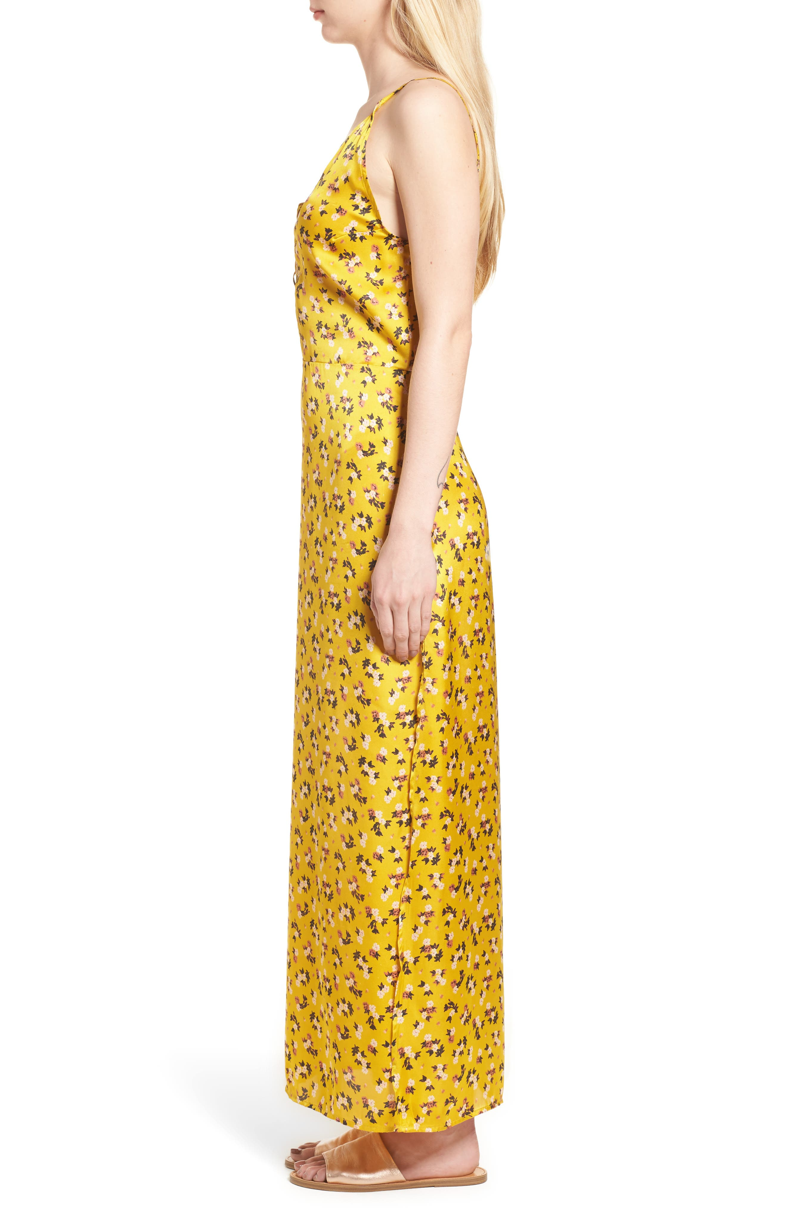 Floral Satin Maxi Dress,                             Alternate thumbnail 3, color,                             Burnt Gold
