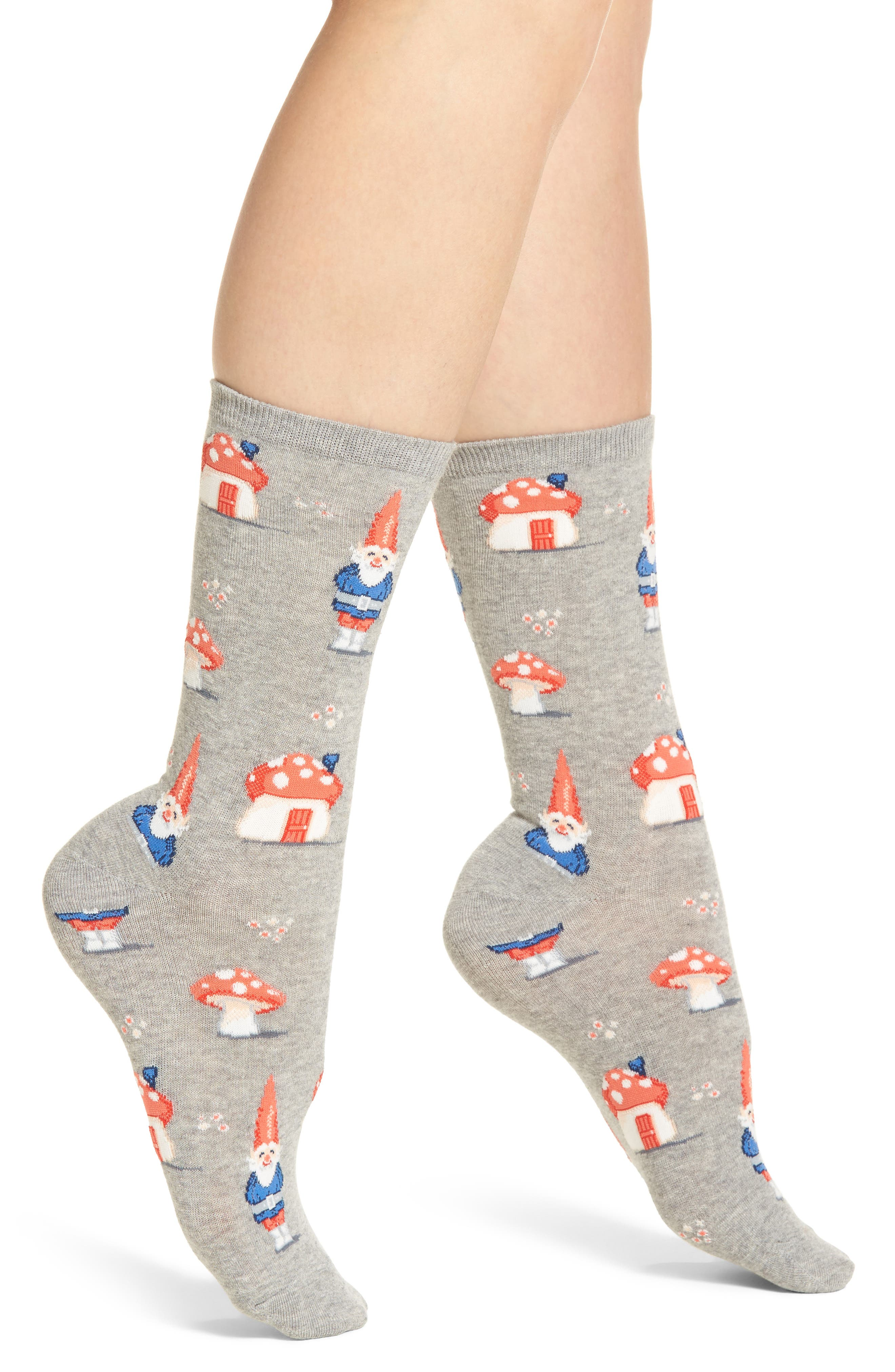 Gnomes Crew Socks,                         Main,                         color, Grey Heather