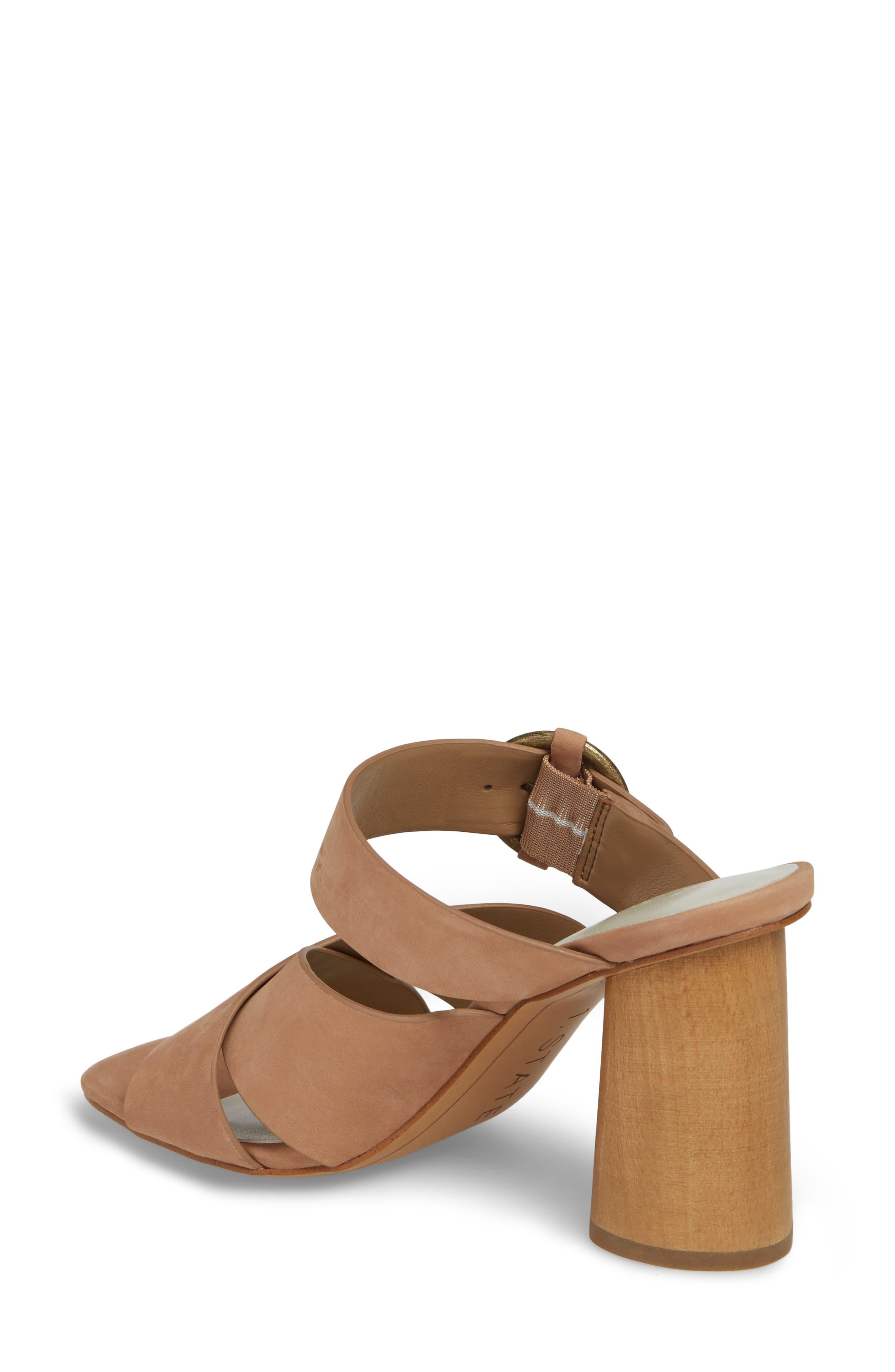 Icendra Flared Heel Mule Sandal,                             Alternate thumbnail 2, color,                             Teak Leather