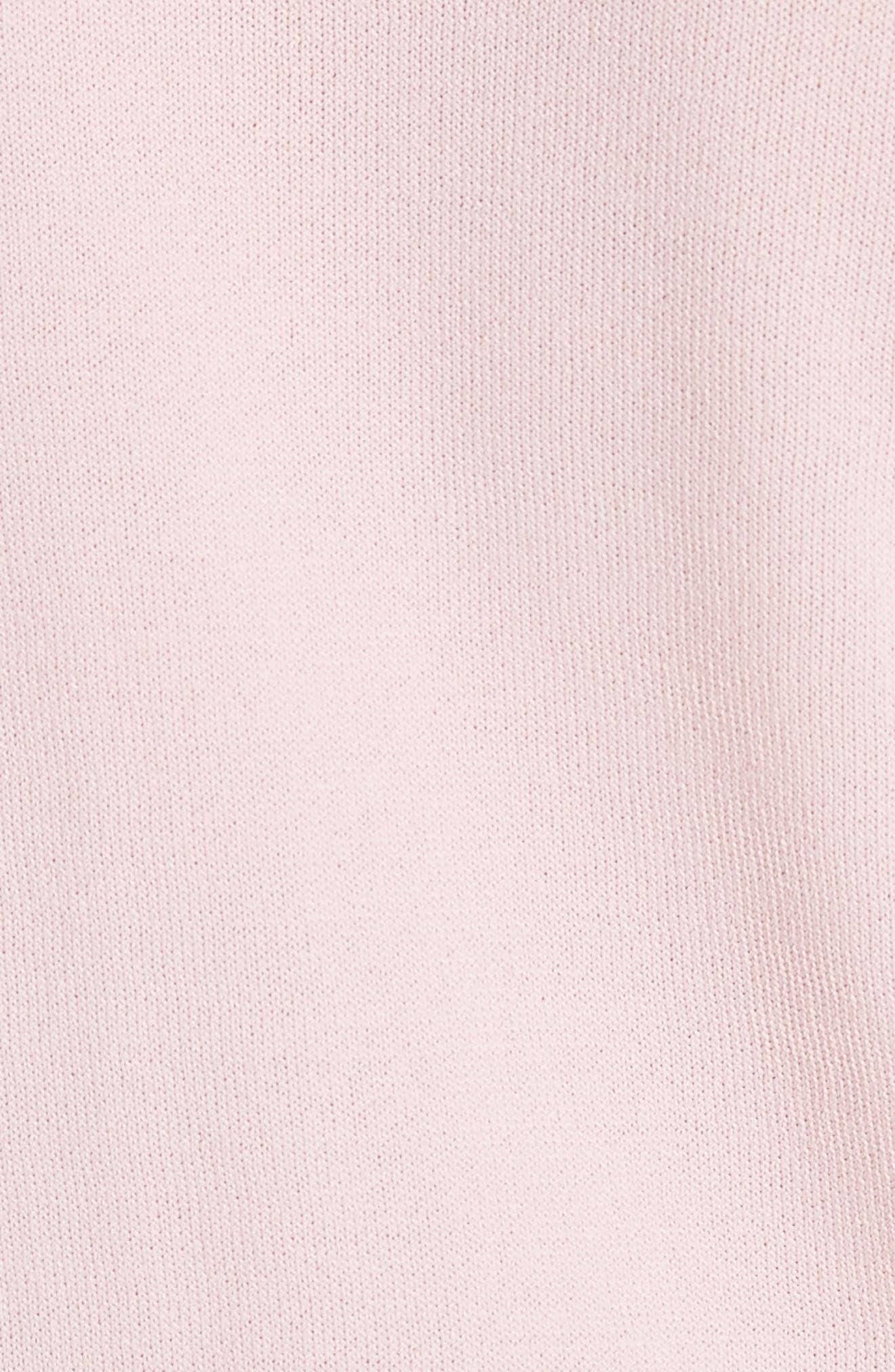 Satin Contrast Ruffle Sweater,                             Alternate thumbnail 5, color,                             Dusky Pink