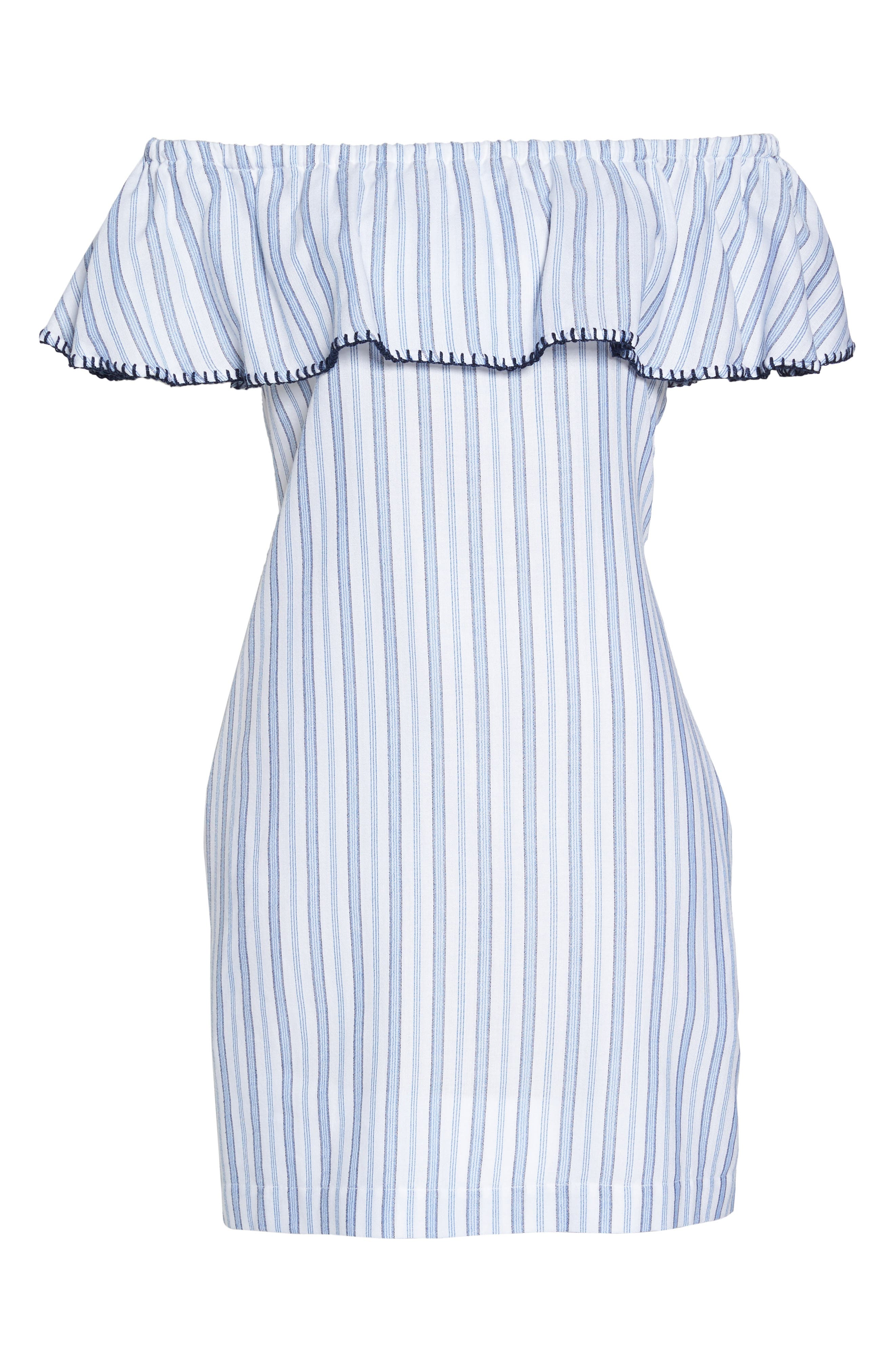 Ticking Stripe Off the Shoulder Cover-Up Dress,                             Alternate thumbnail 6, color,                             White