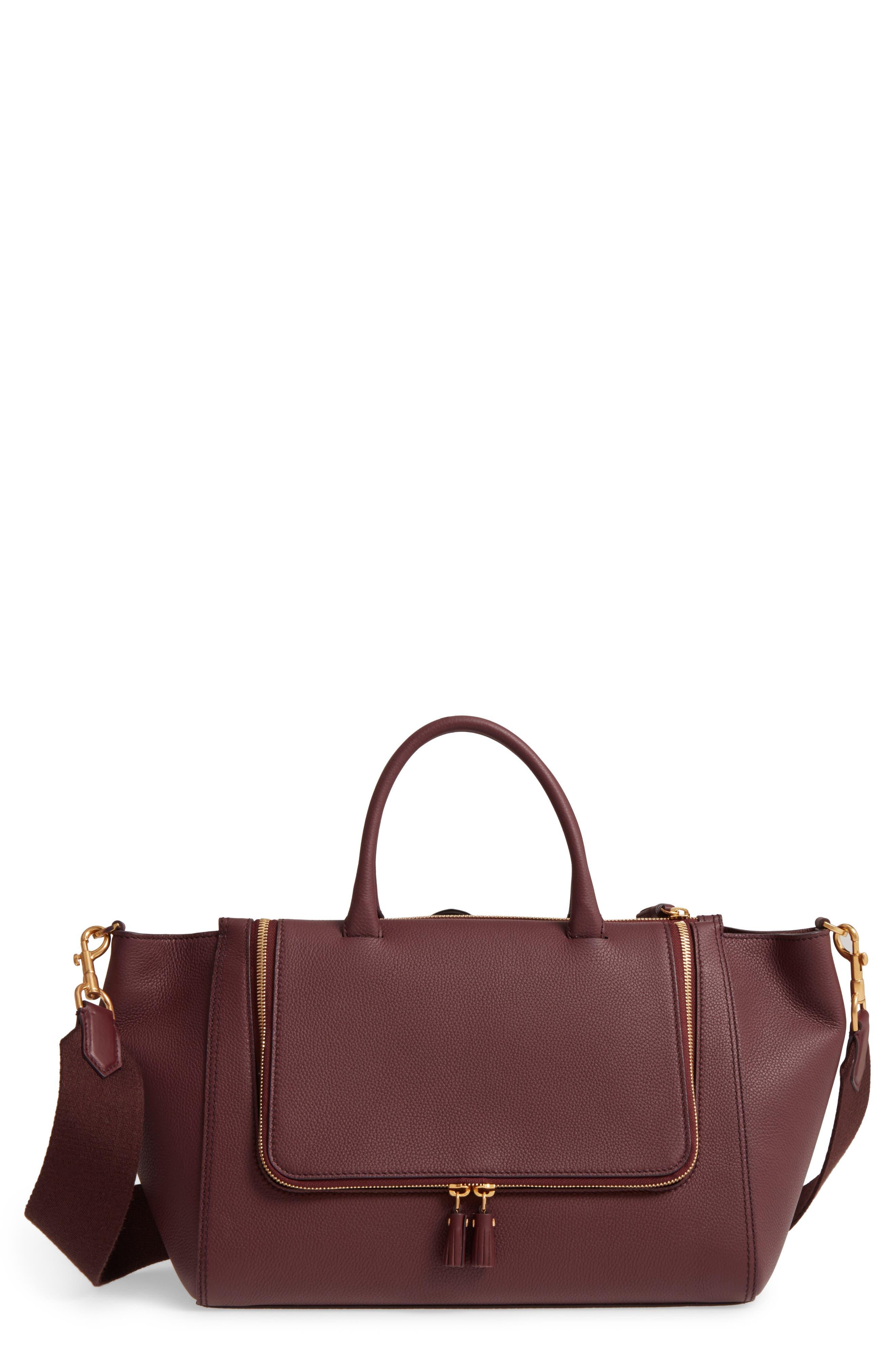 Vere Leather Tote,                         Main,                         color, Claret