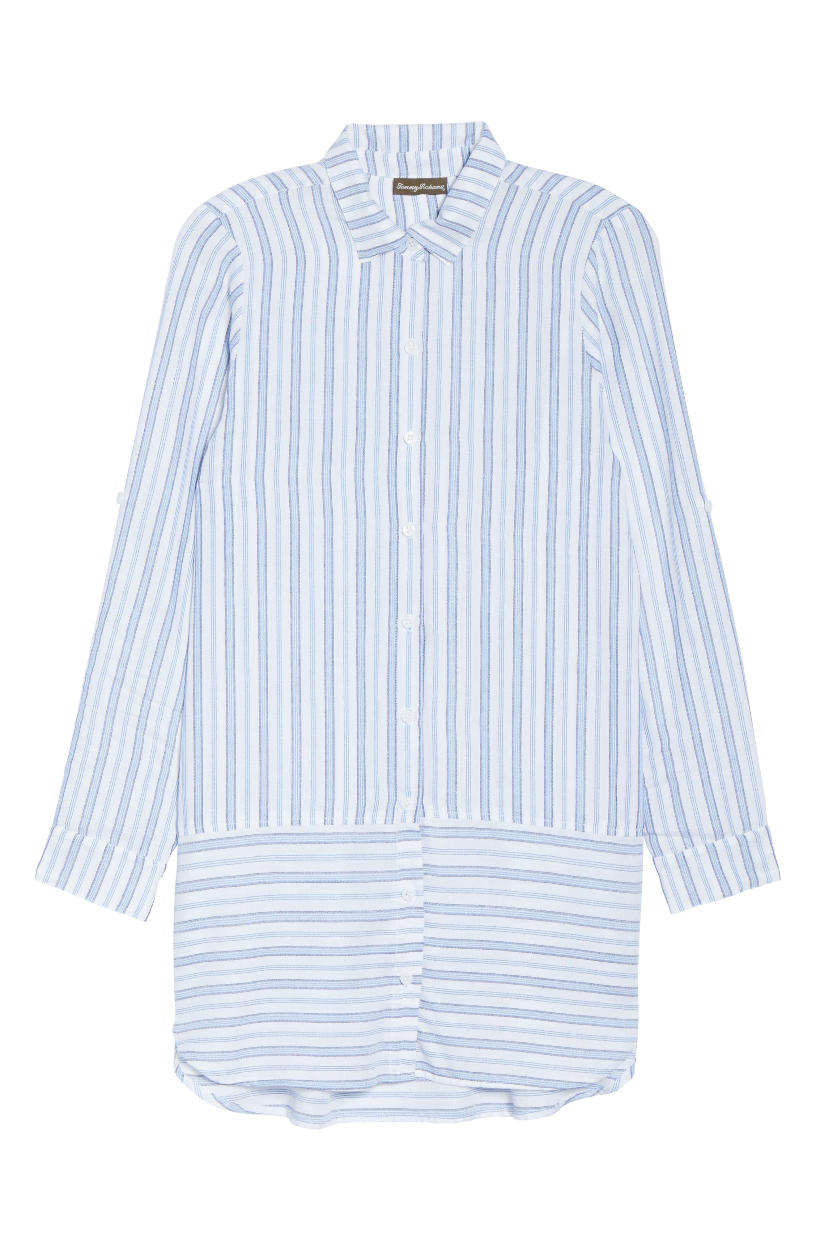 Ticking Stripe Cover-Up Shirtdress,                             Alternate thumbnail 6, color,                             White