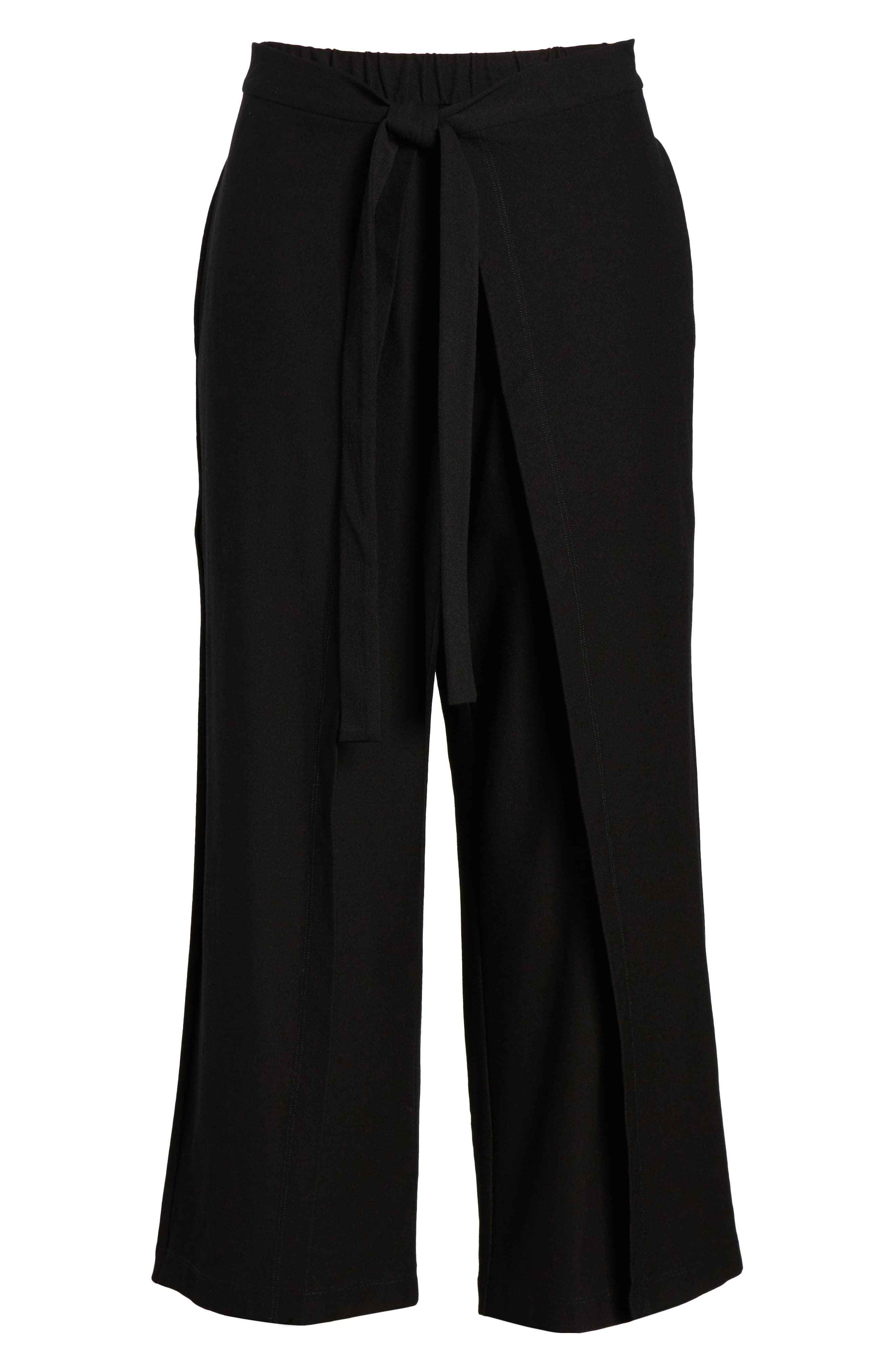 Washable Stretch Crepe Tie-Front Crop Wide Leg Pants,                             Alternate thumbnail 7, color,                             Black