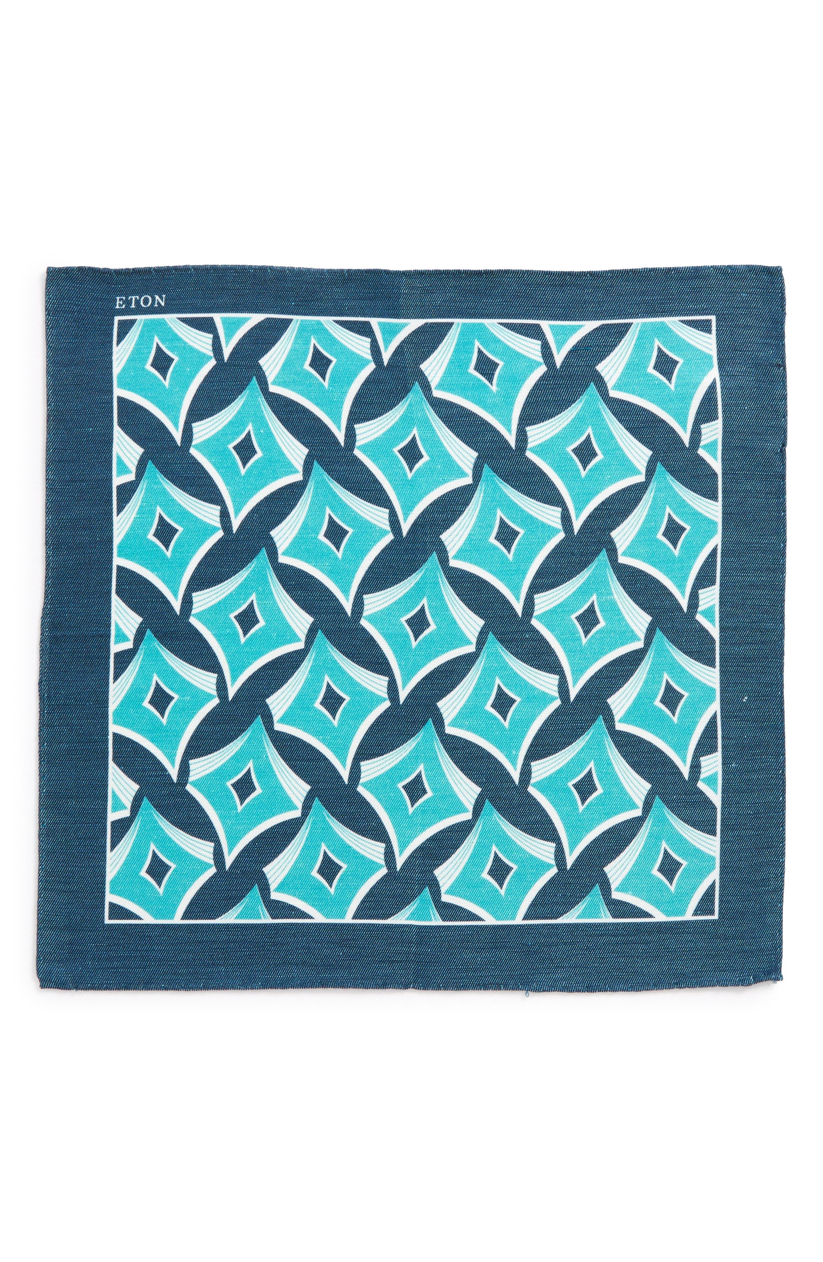 Geometric Linen & Silk Pocket Square,                             Alternate thumbnail 2, color,                             Aqua