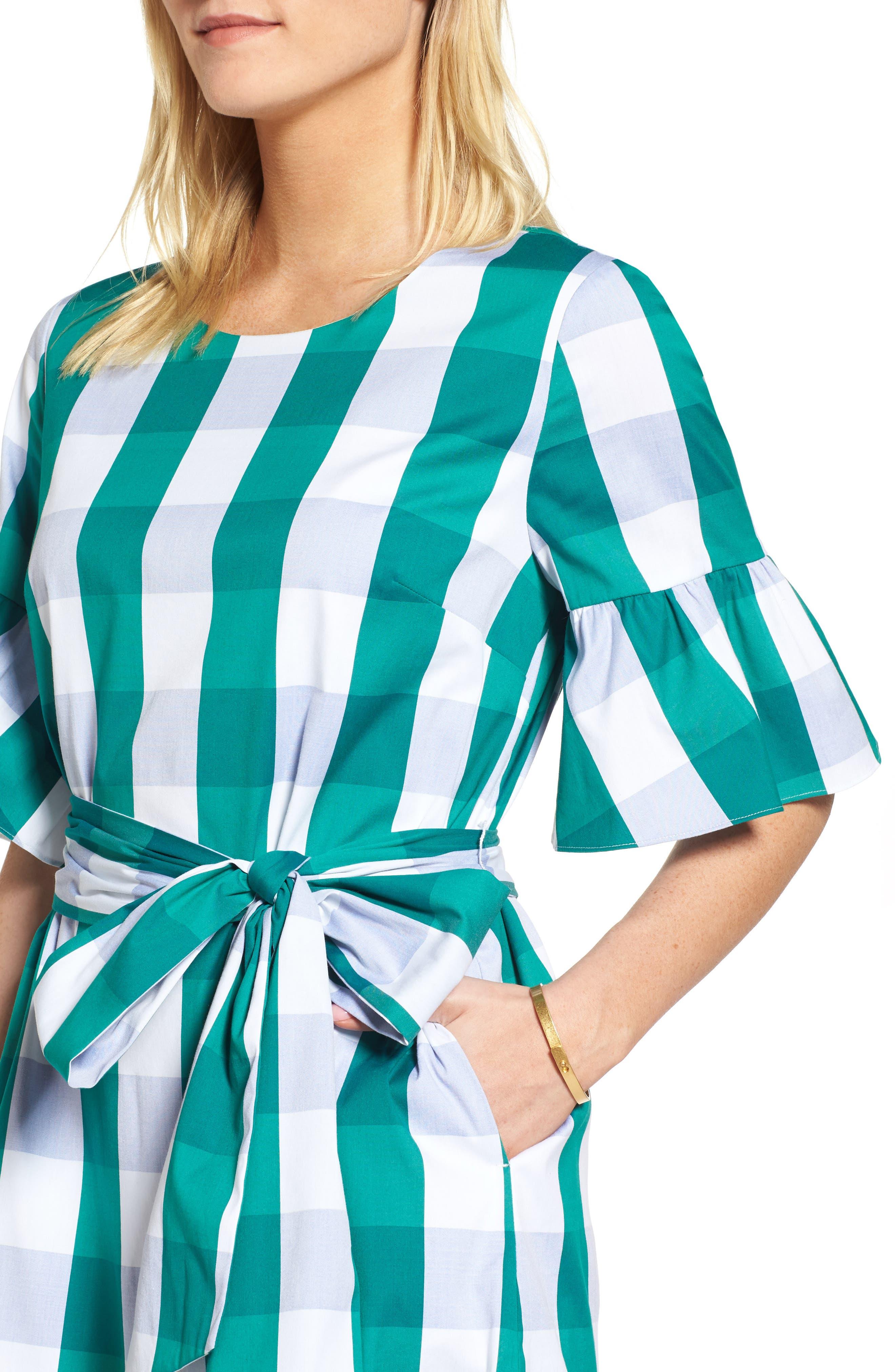Ruffle & Bow Dress,                             Alternate thumbnail 5, color,                             Green- Blue Gingham