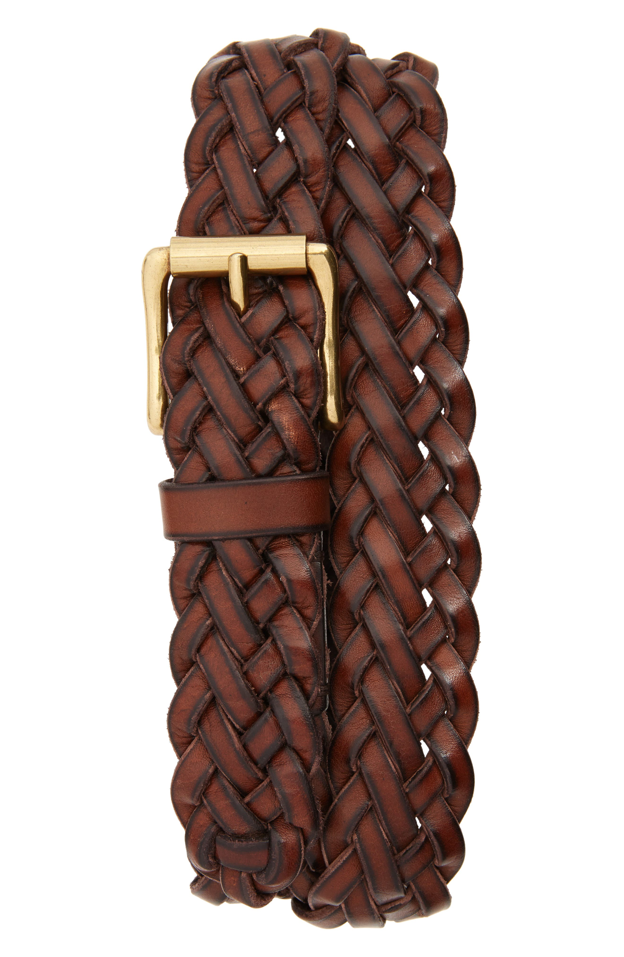 Woven Leather Belt,                         Main,                         color, Brown