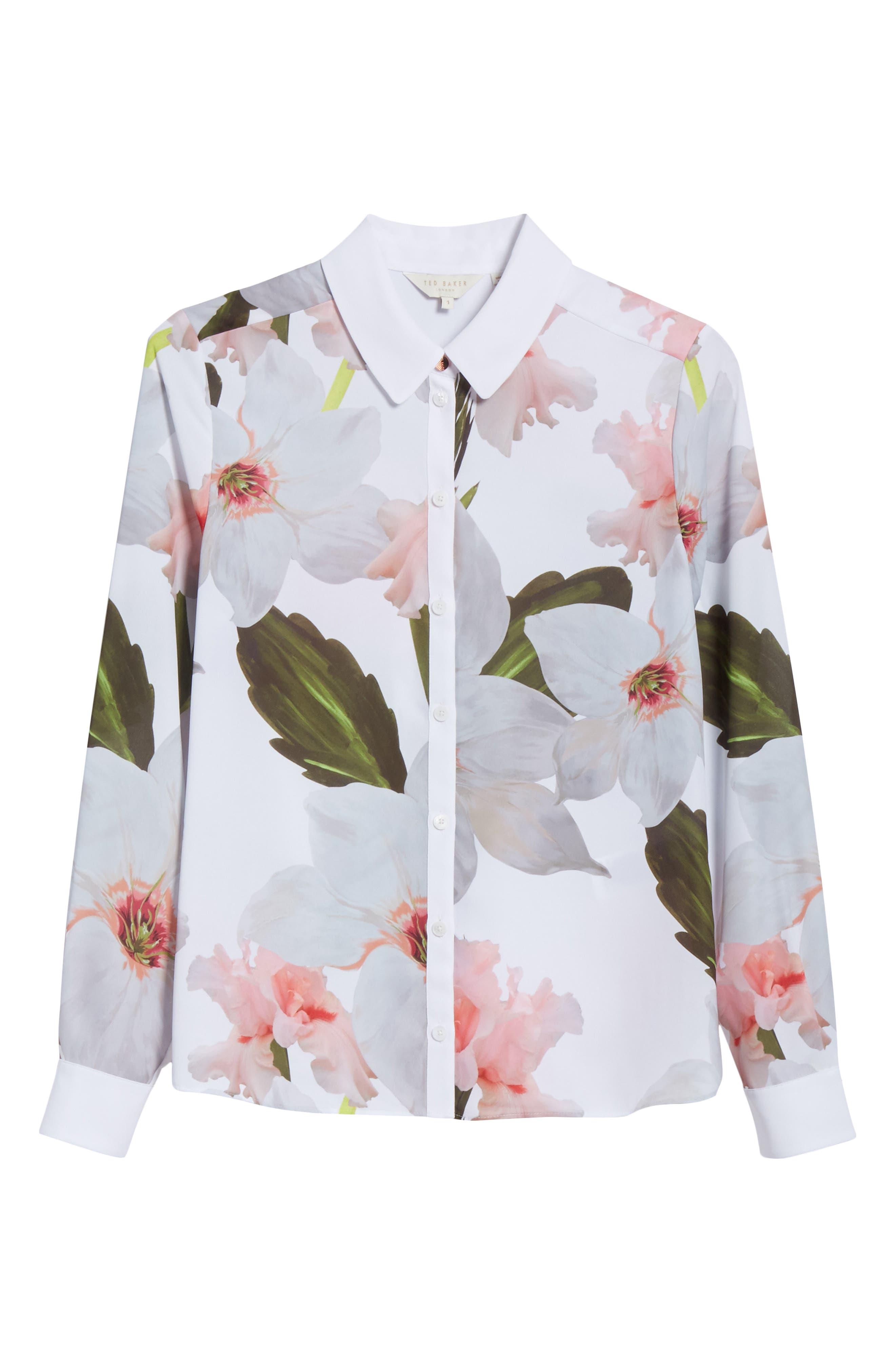 Chatsworth Bloom Shirt,                             Alternate thumbnail 6, color,                             White