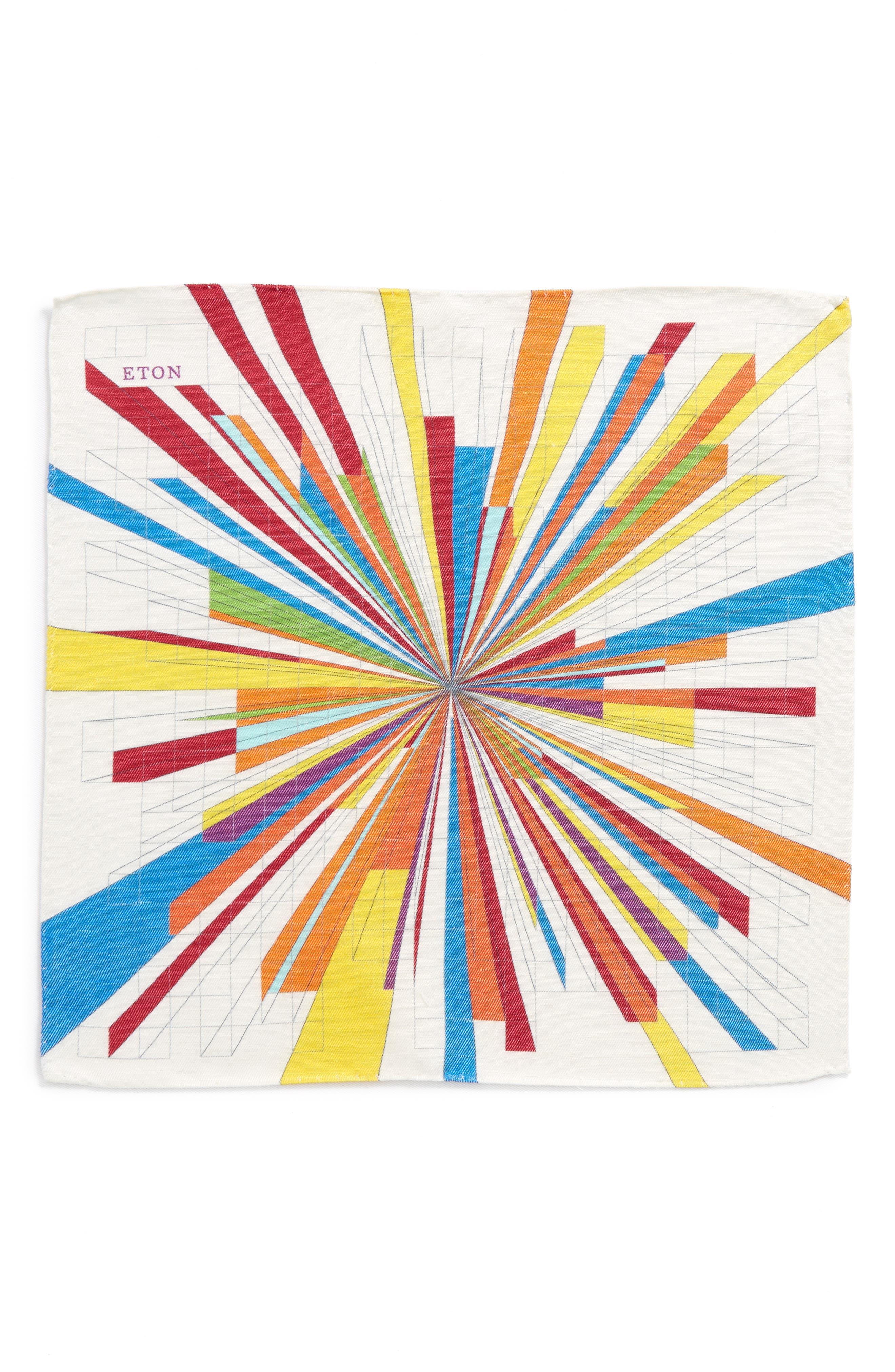 Burst Geometric Linen & Silk Pocket Square,                             Alternate thumbnail 2, color,                             Multi