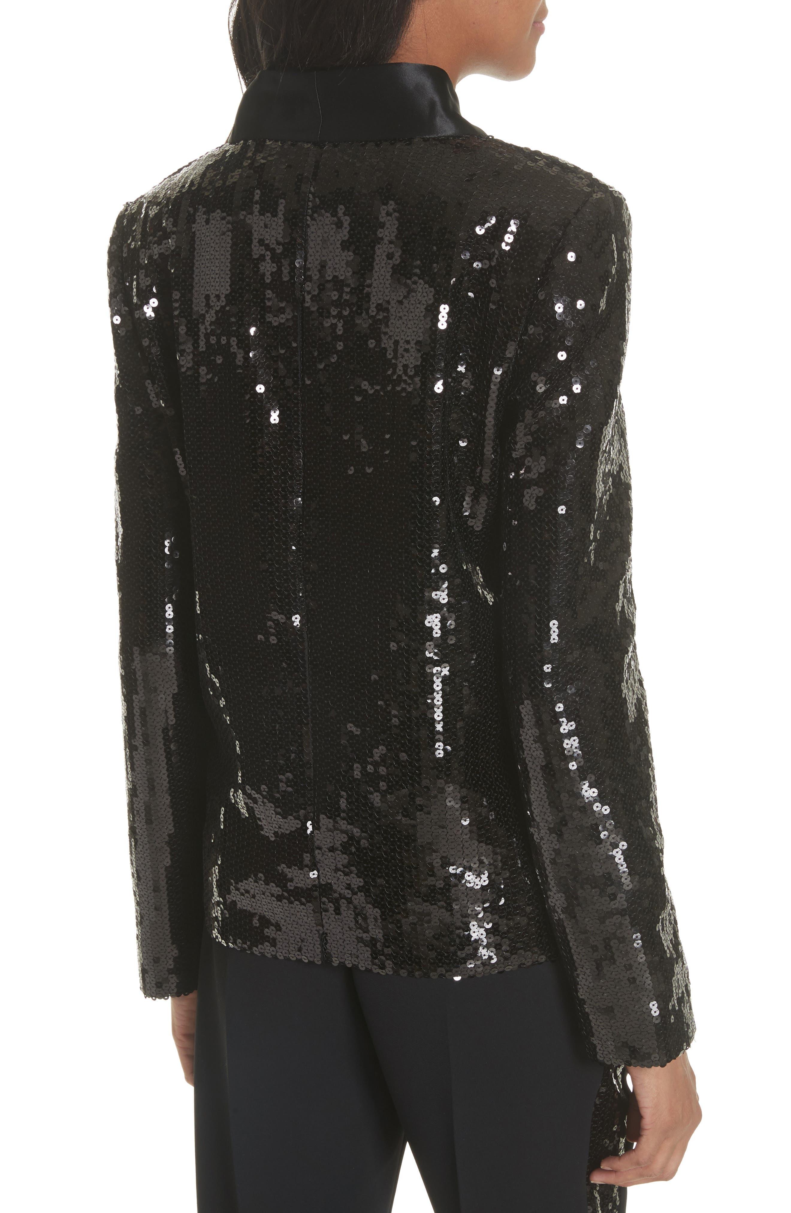 Sequin Tuxedo Jacket,                             Alternate thumbnail 2, color,                             Black