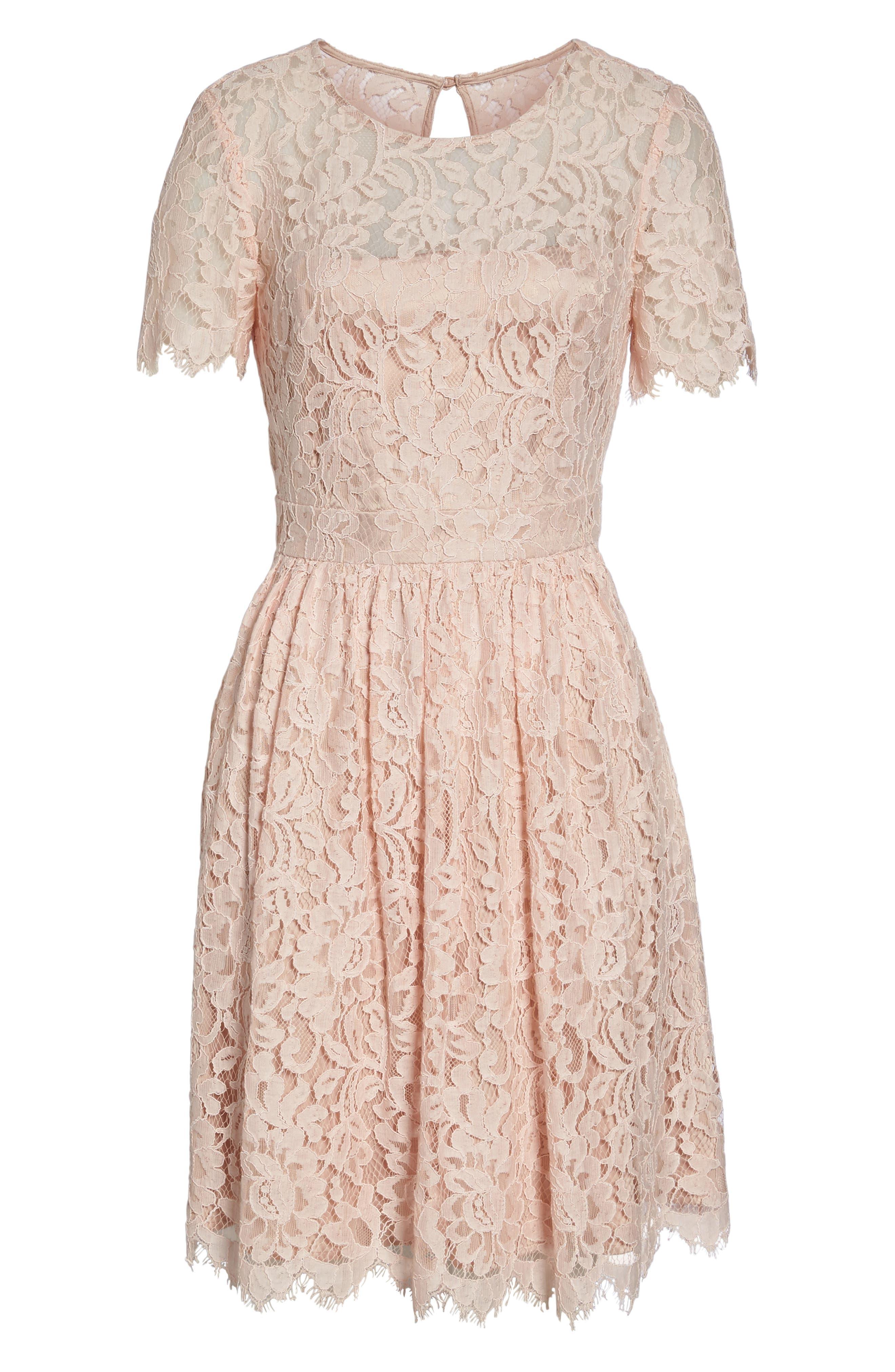 Lace Fit & Flare Dress,                             Alternate thumbnail 6, color,                             Peach
