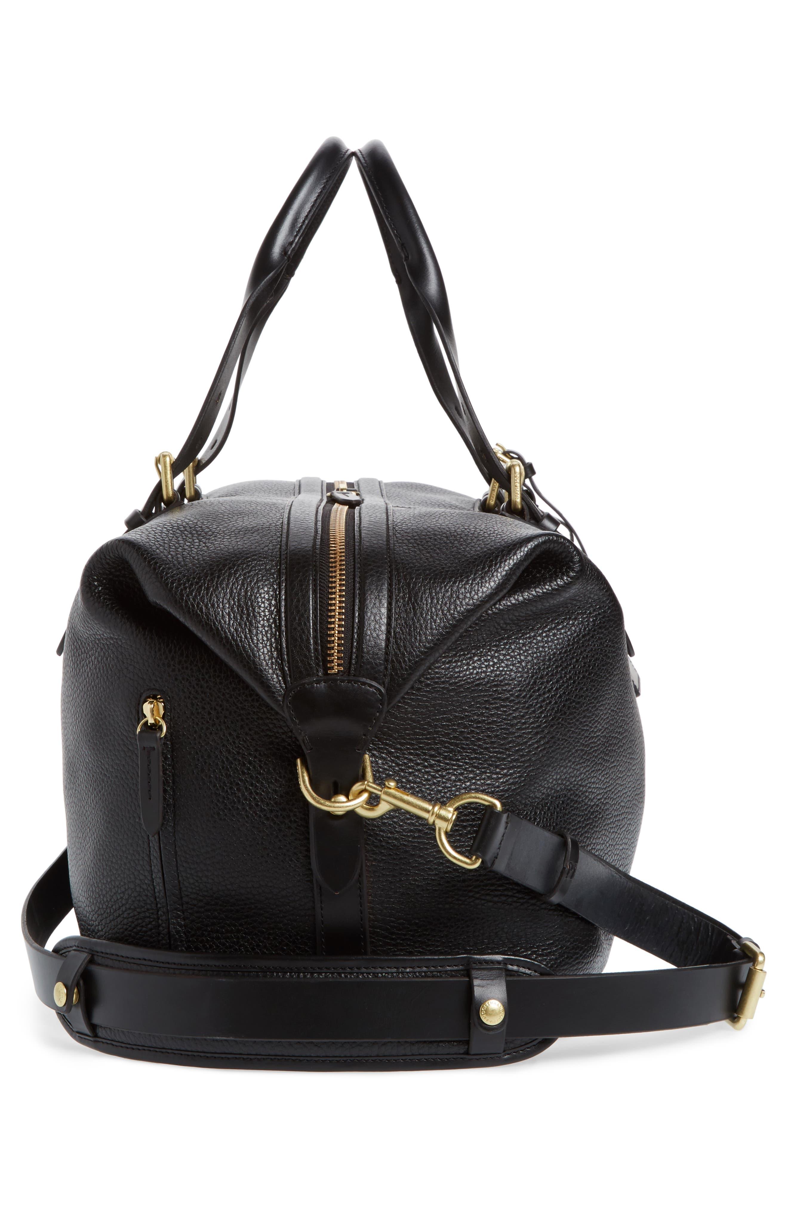Leather Duffel Bag,                             Alternate thumbnail 5, color,                             Black