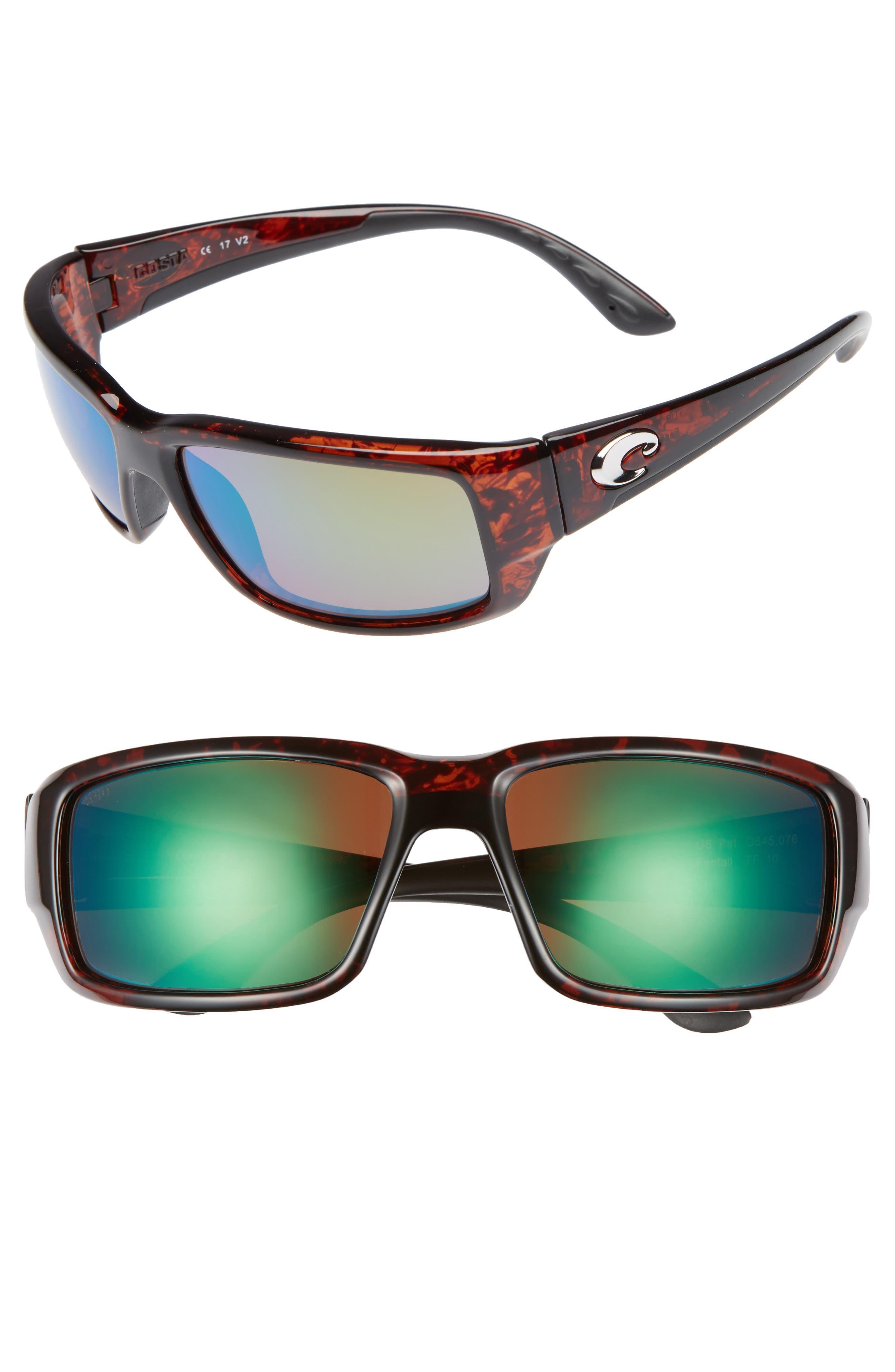 Fantail 60mm Polarized Sunglasses,                         Main,                         color, Tortoise/ Green Mirror